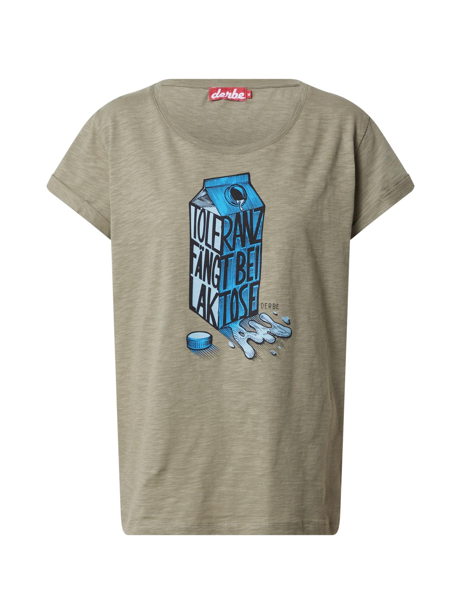 Derbe Marškinėliai alyvuogių spalva / juoda / dangaus žydra / šviesiai mėlyna