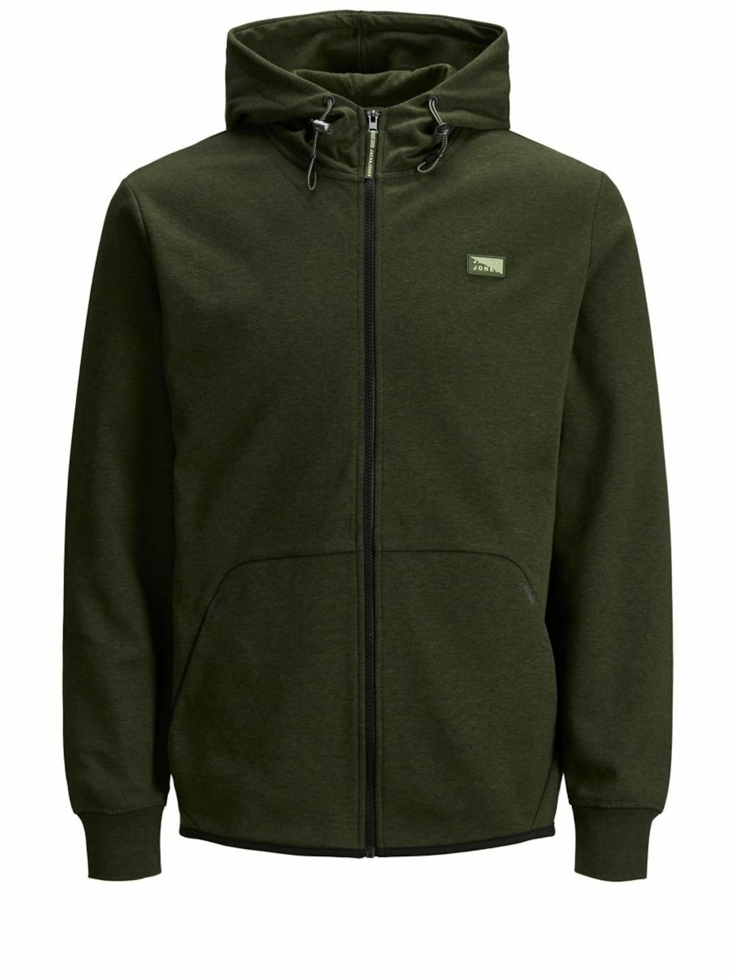 JACK & JONES Džemperis 'JCOAIR SWEAT ZIP HOOD NOOS' tamsiai žalia