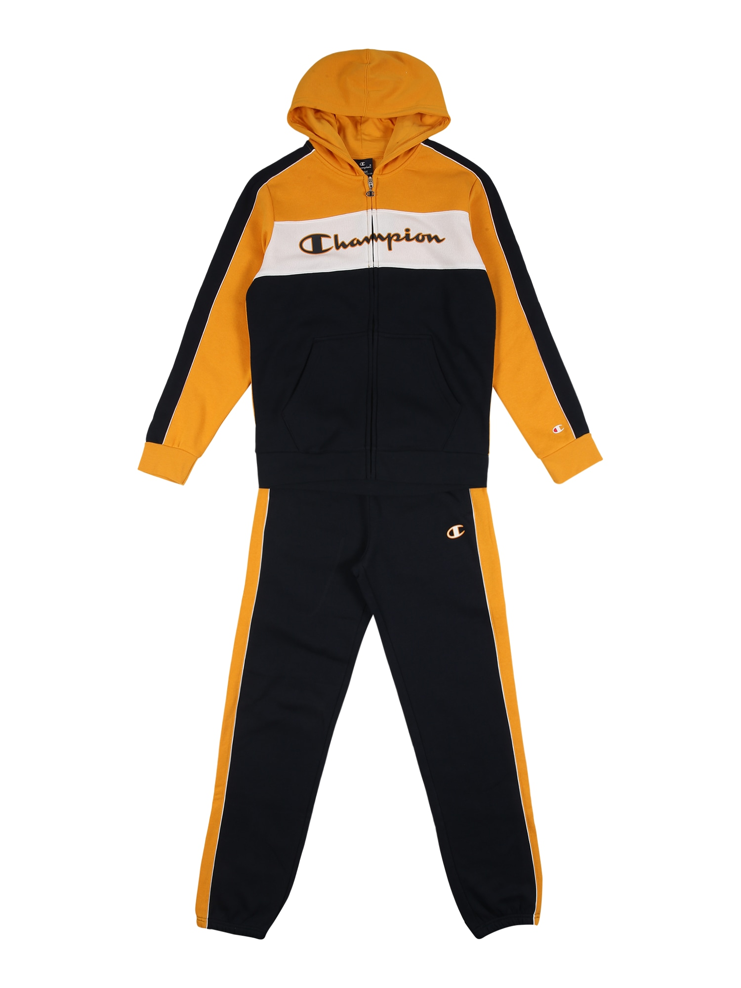 Champion Authentic Athletic Apparel Treniruočių kostiumas aukso geltonumo spalva / juoda / balta