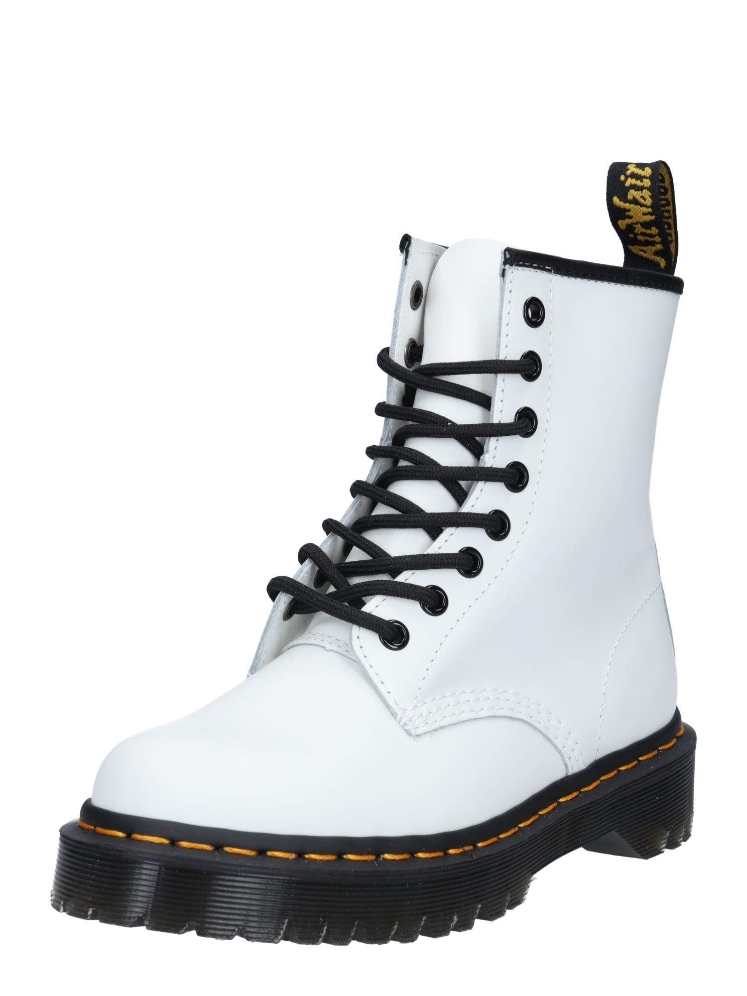 Dr. Martens Suvarstomieji kulkšnis dengiantys batai balta / juoda
