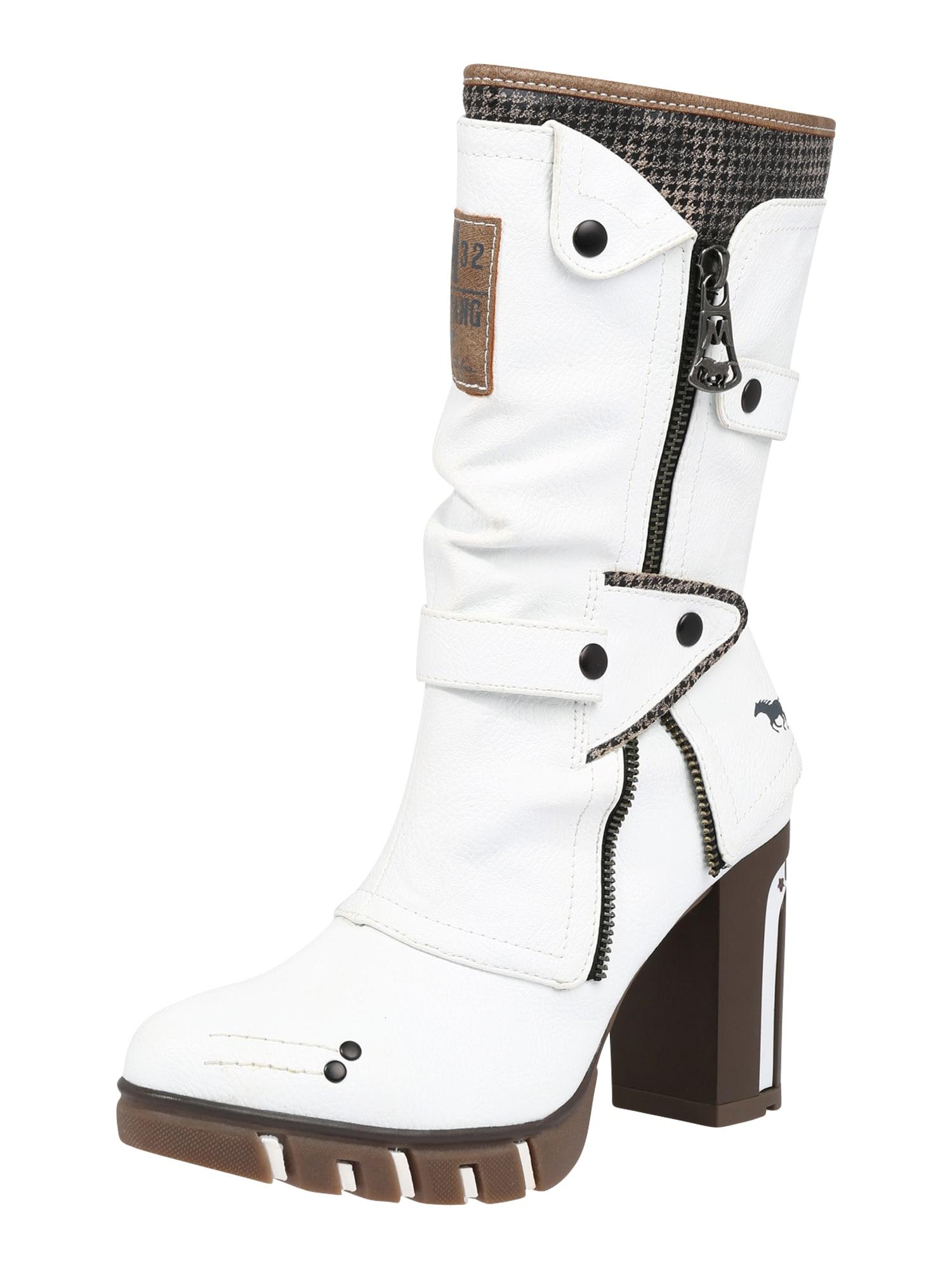 MUSTANG Auliniai batai su kulniuku natūrali balta / antracito / mokos spalva