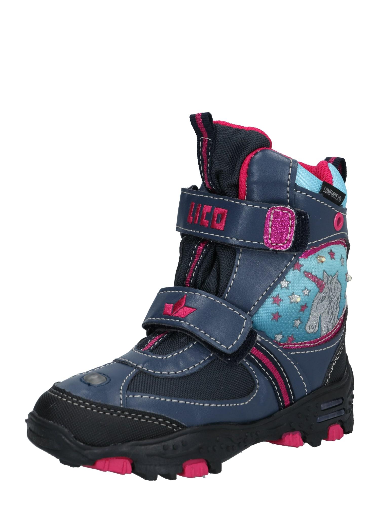 LICO Sniego batai 'Unicorn ' rožinė / tamsiai mėlyna jūros spalva / turkio spalva