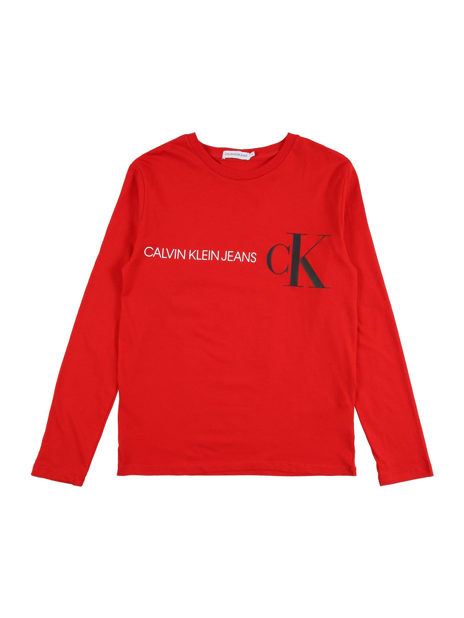 Calvin Klein Jeans Marškinėliai raudona / balta / juoda