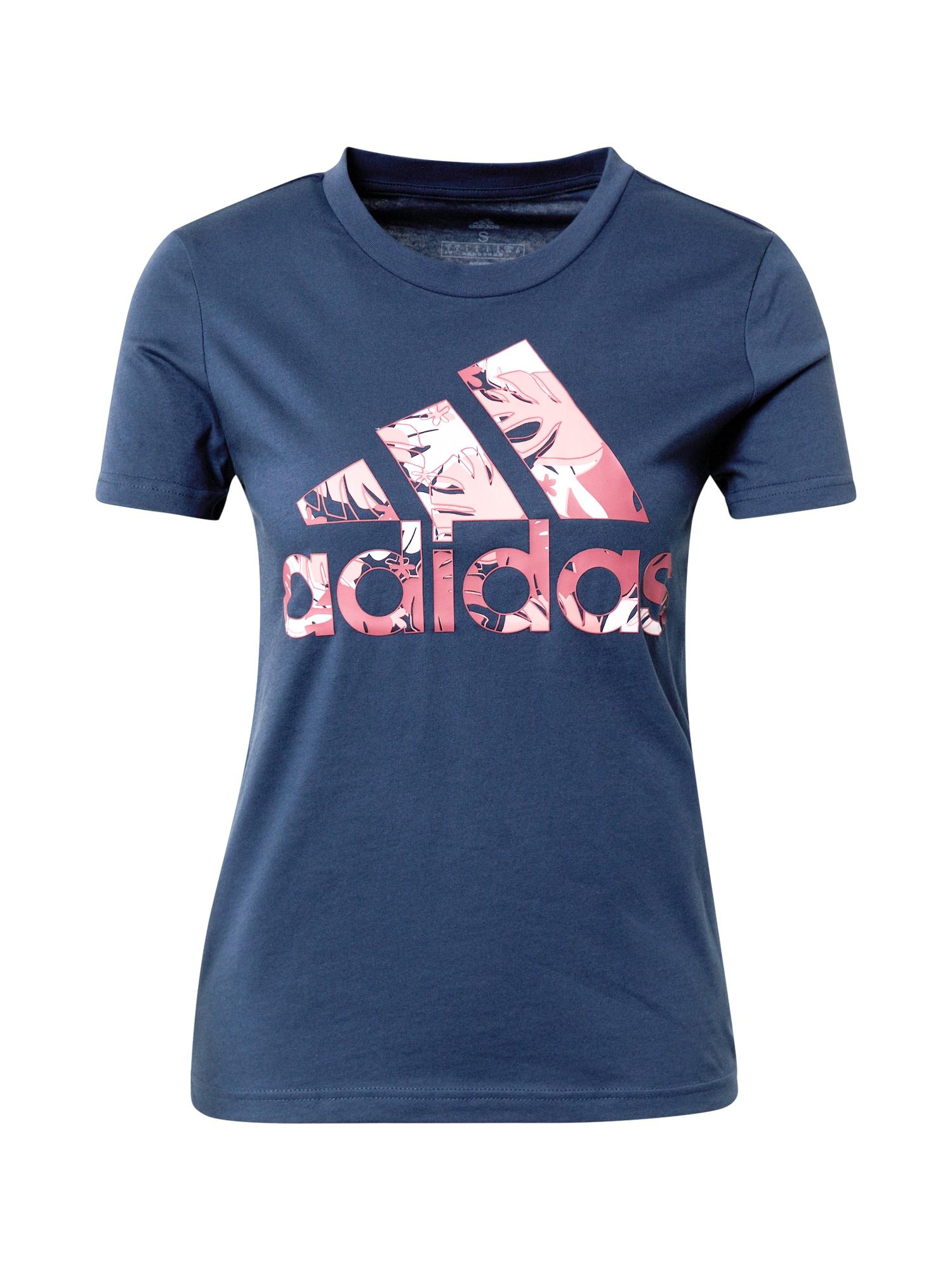 ADIDAS PERFORMANCE Sportiniai marškinėliai tamsiai mėlyna / rožių spalva / balta / rožinė