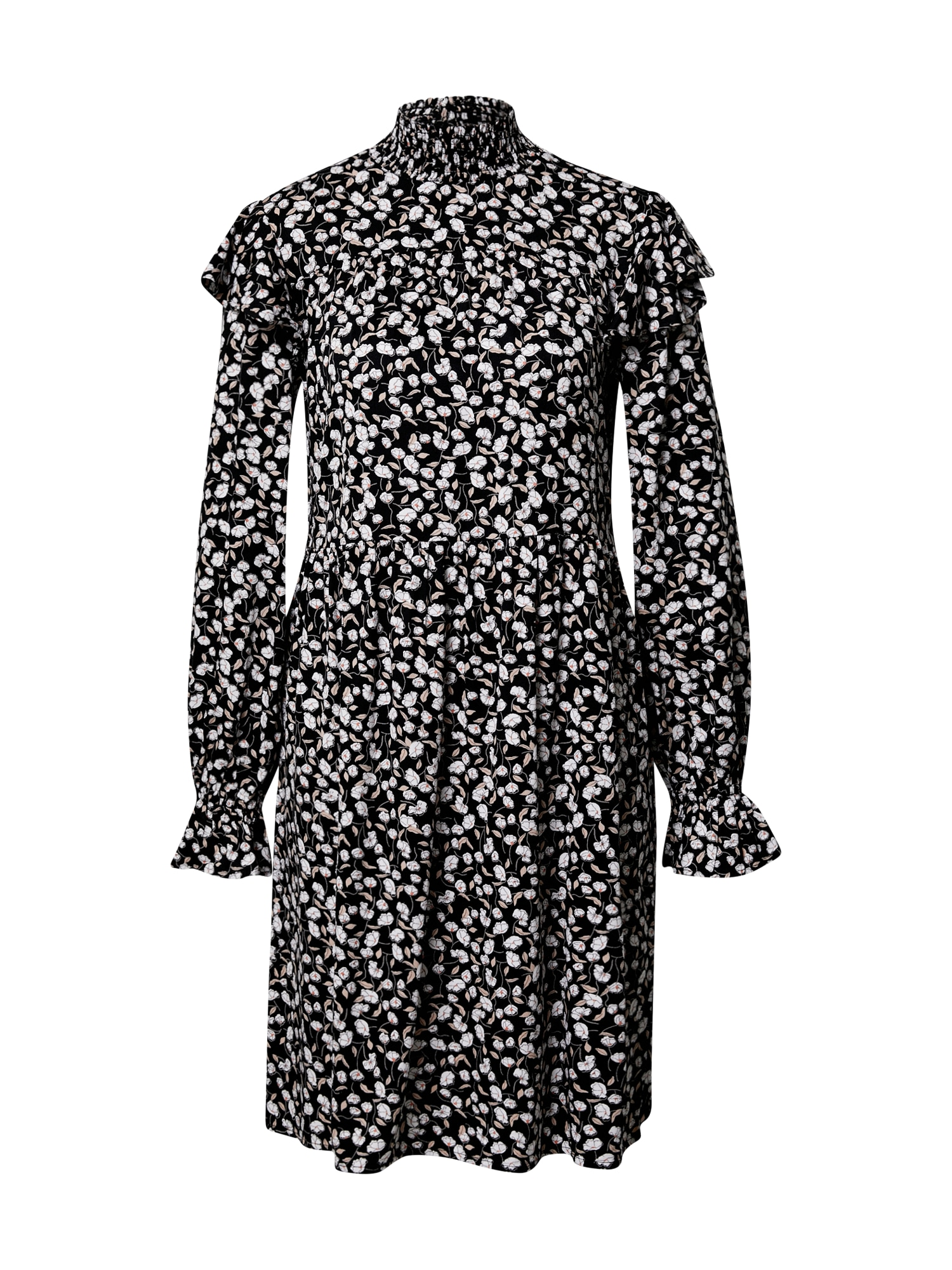 PIECES Šaty  černá / bílá / béžová