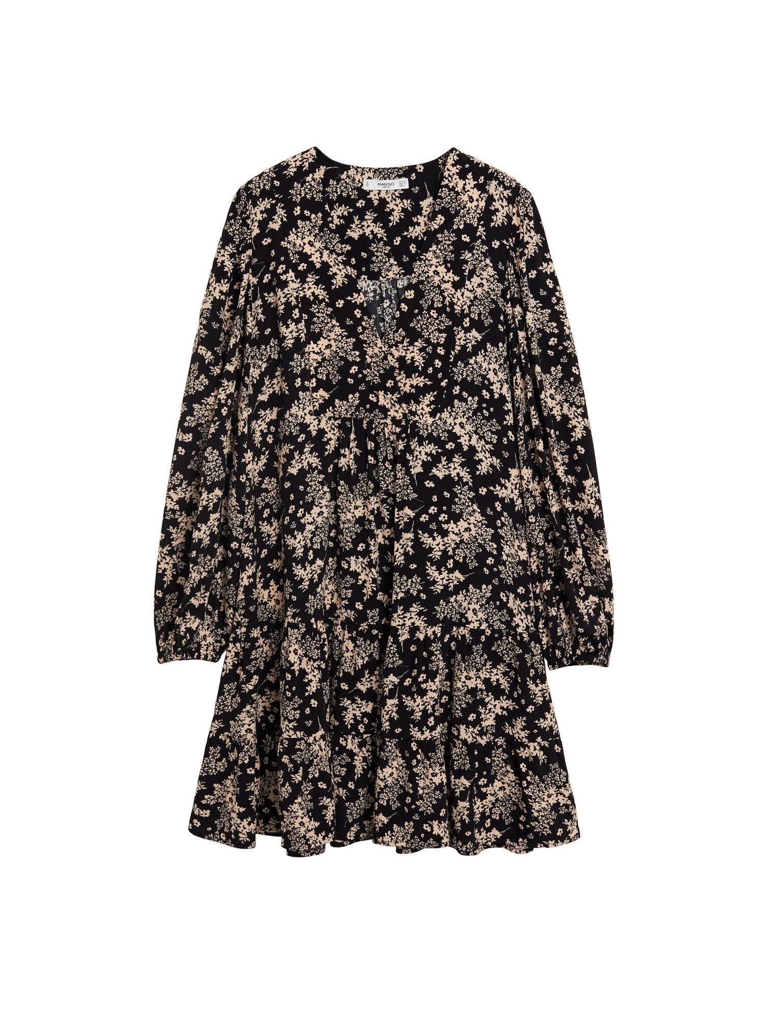 MANGO Šaty  béžová / černá