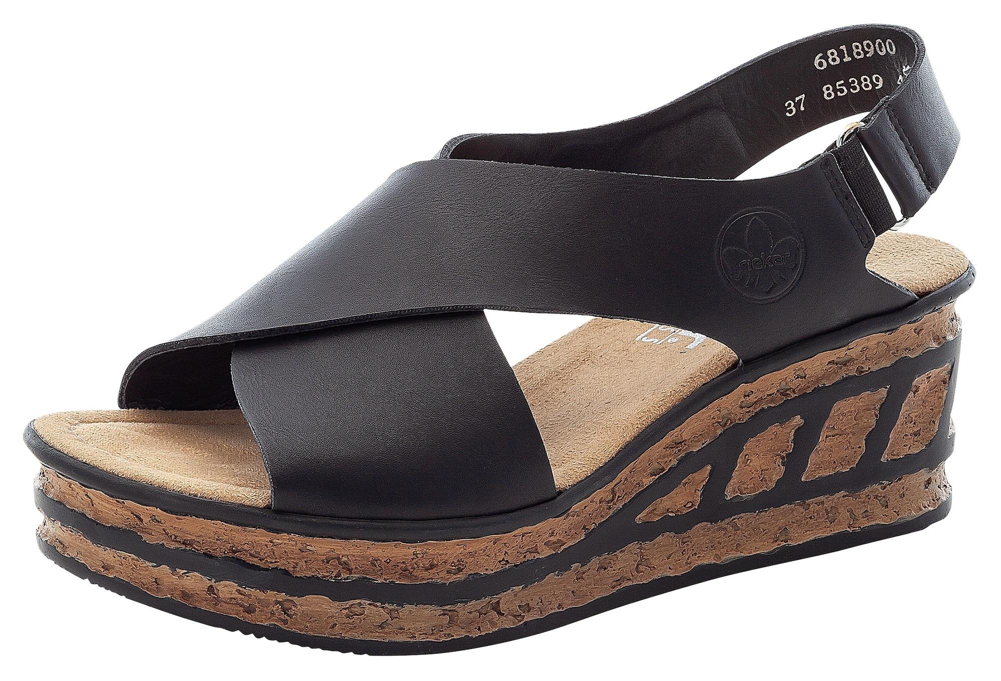RIEKER Páskové sandály  černá / světle hnědá