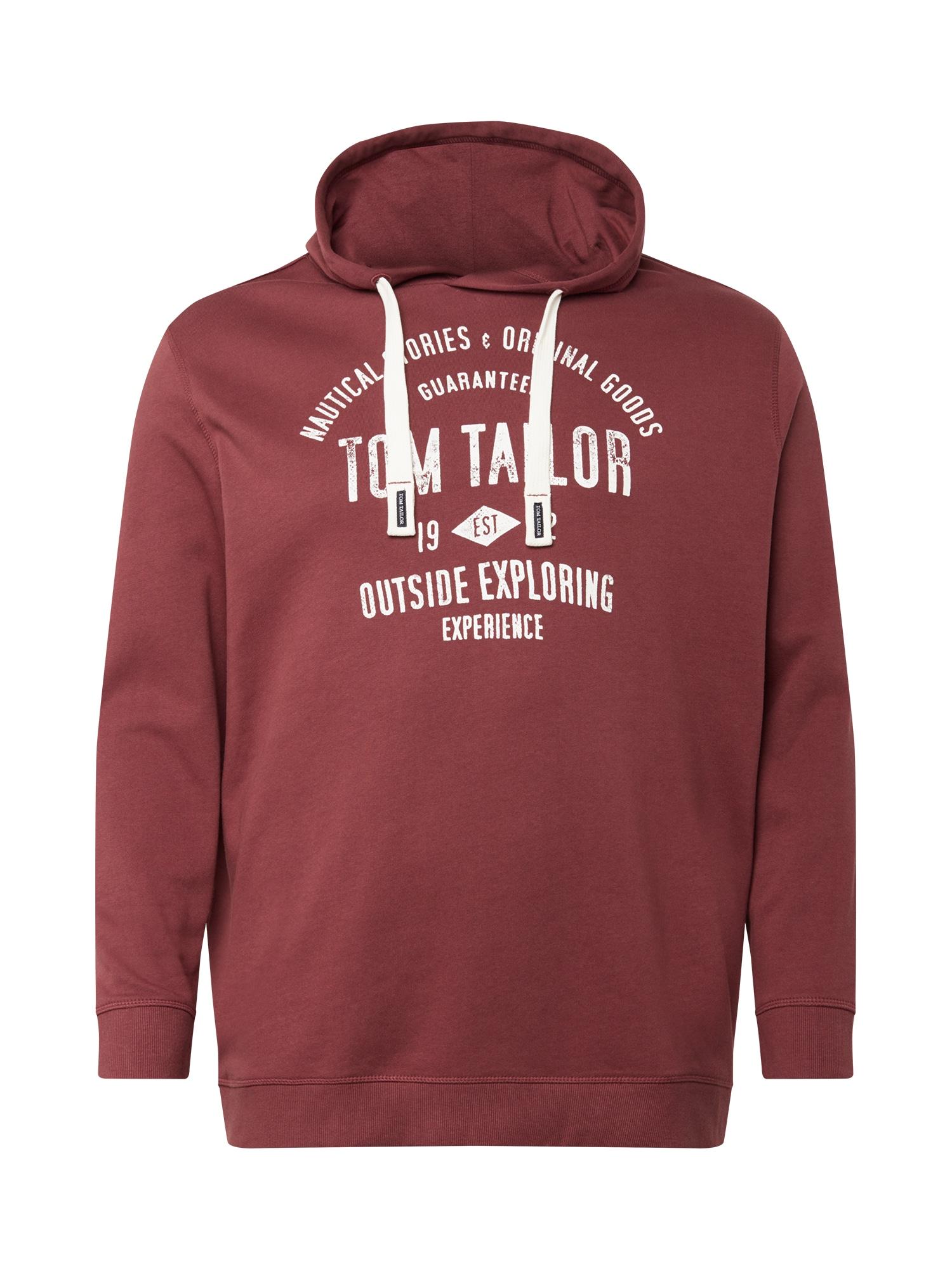 TOM TAILOR Men Plus Mikina  červená třešeň / bílá