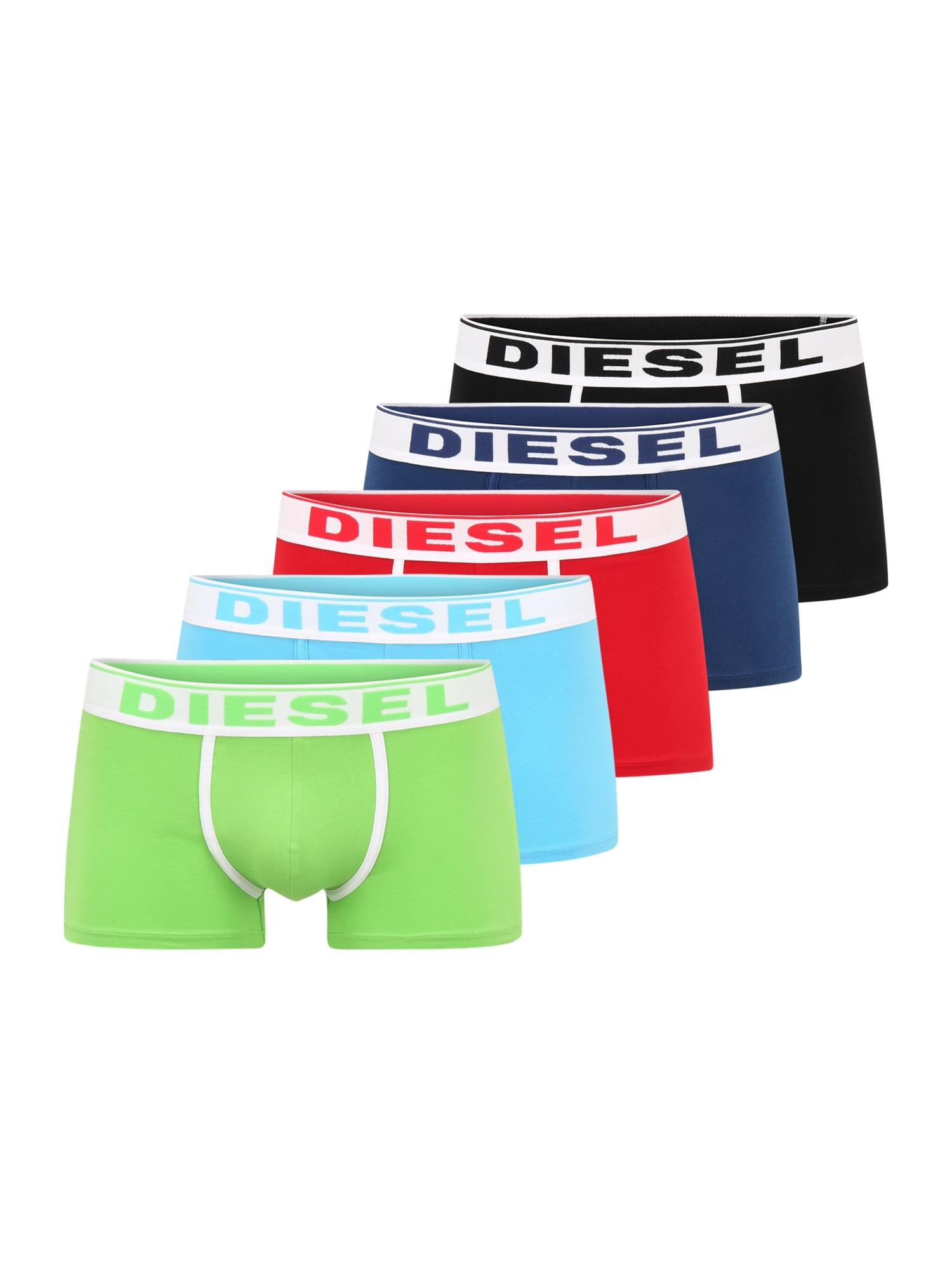 DIESEL Boxer trumpikės šviesiai žalia / šviesiai mėlyna / raudona / tamsiai mėlyna / juoda
