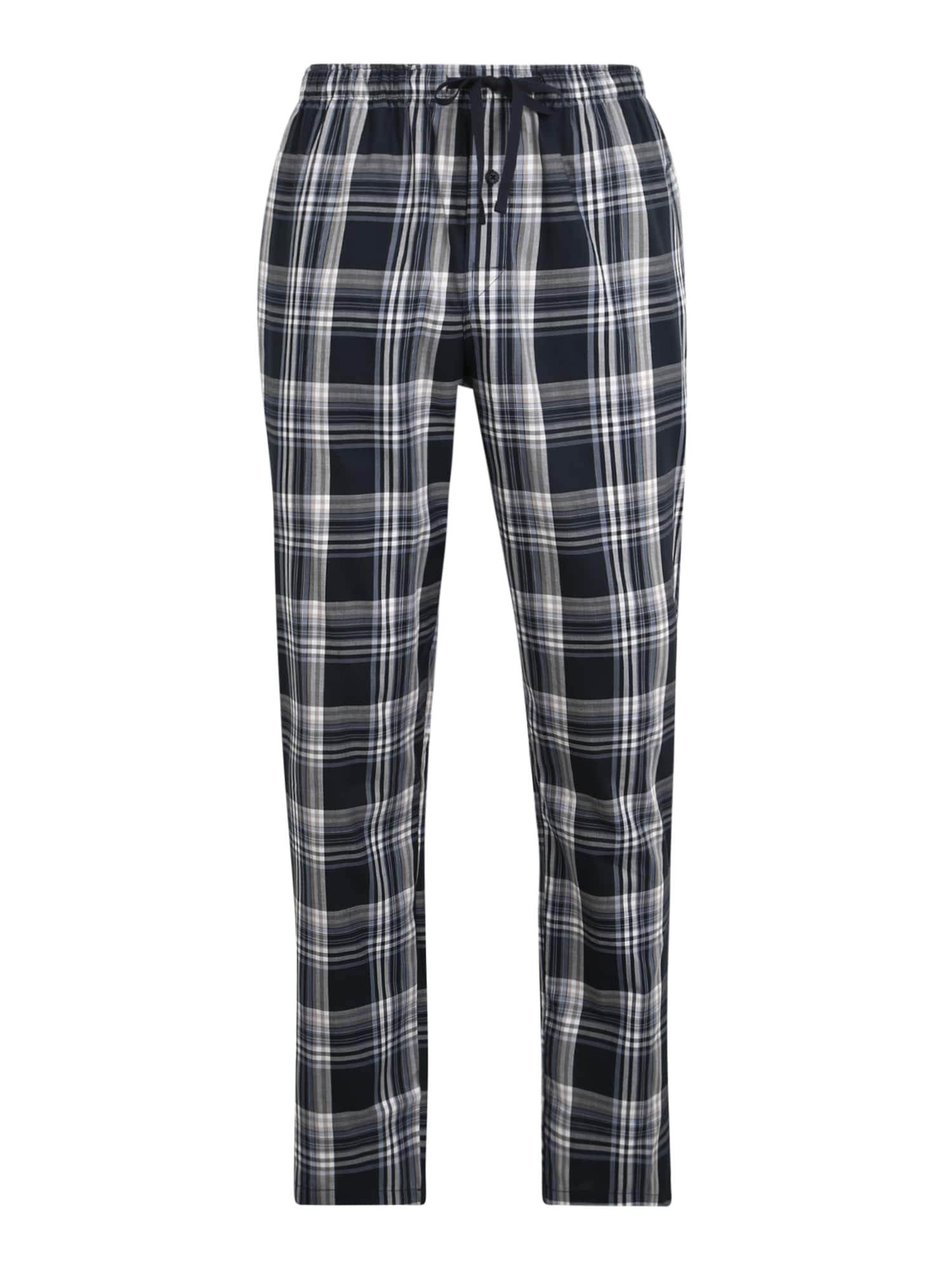 SCHIESSER Pyžamové kalhoty  marine modrá / bílá