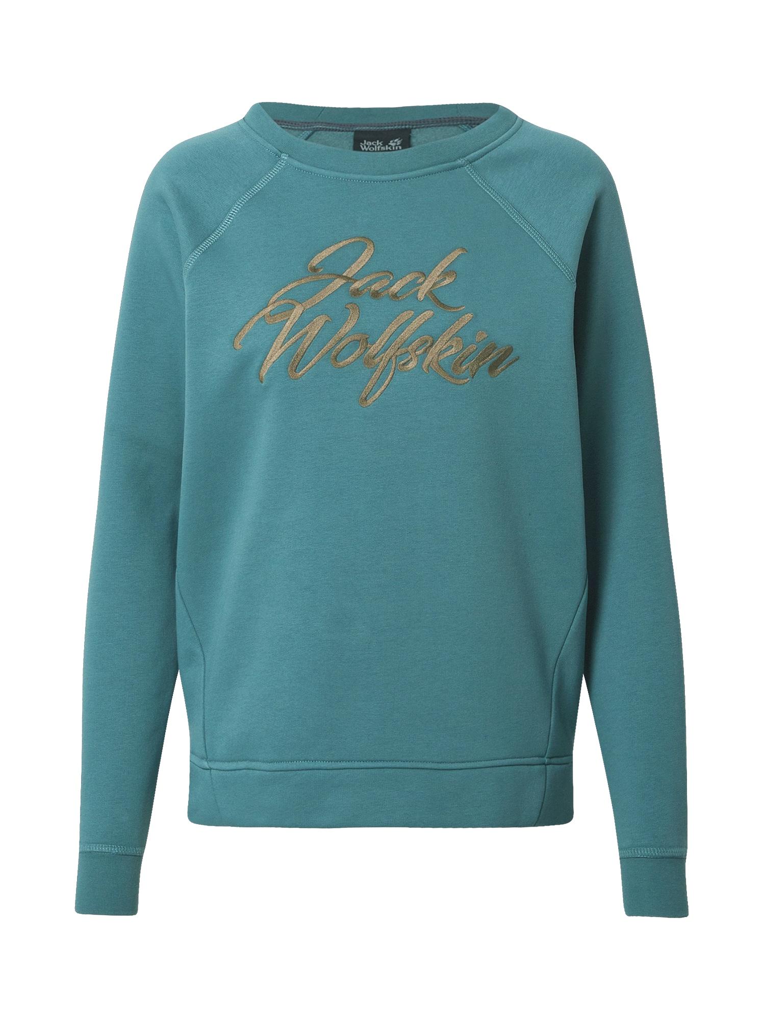 JACK WOLFSKIN Sportinio tipo megztinis pastelinė mėlyna / šviesiai ruda