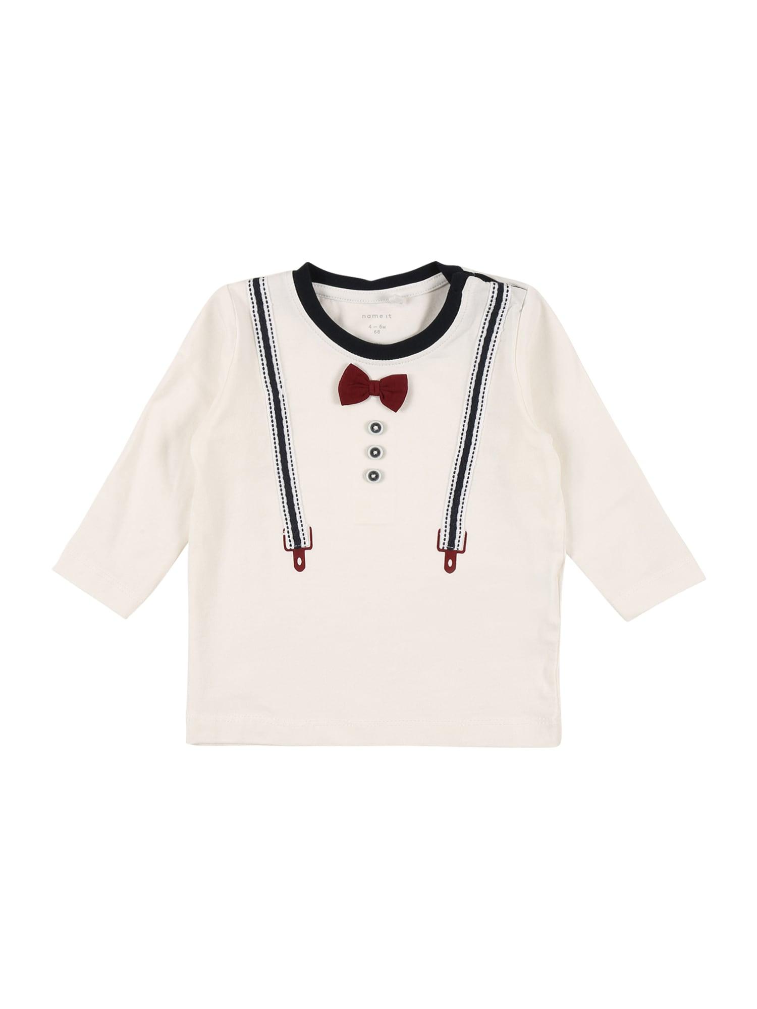 NAME IT Marškinėliai 'RABOW' tamsiai raudona / tamsiai mėlyna / natūrali balta