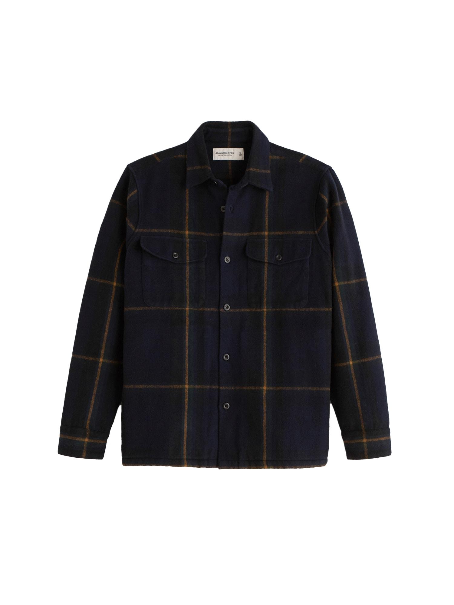 Abercrombie & Fitch Marškiniai tamsiai mėlyna / geltona / juoda