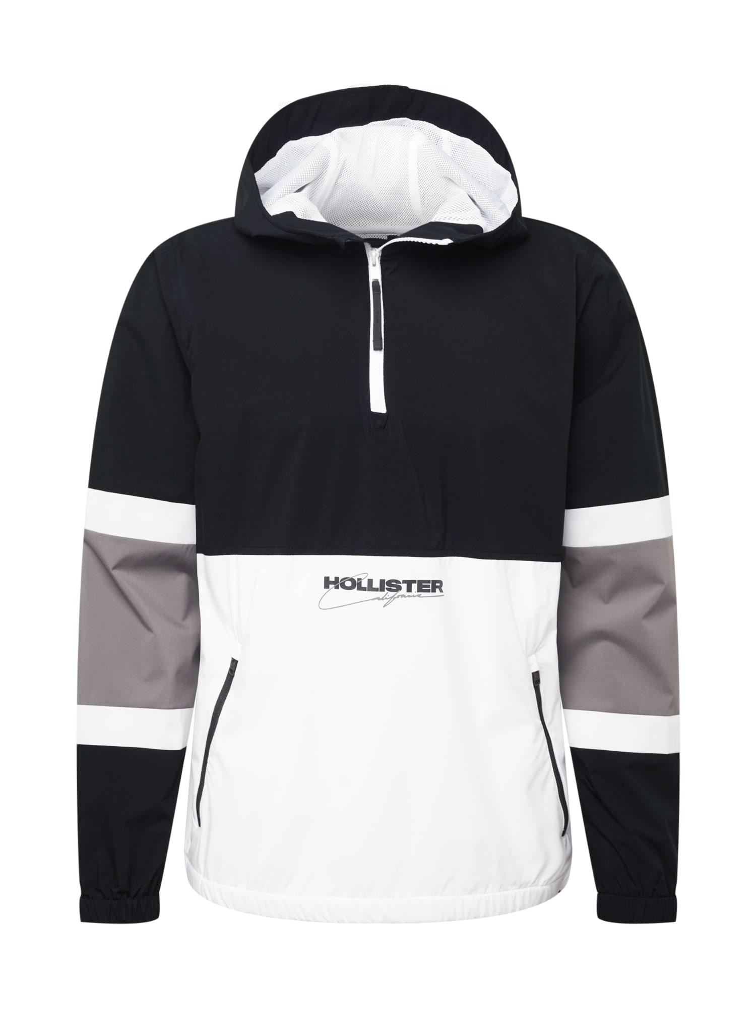 HOLLISTER Demisezoninė striukė juoda / šviesiai pilka / balta