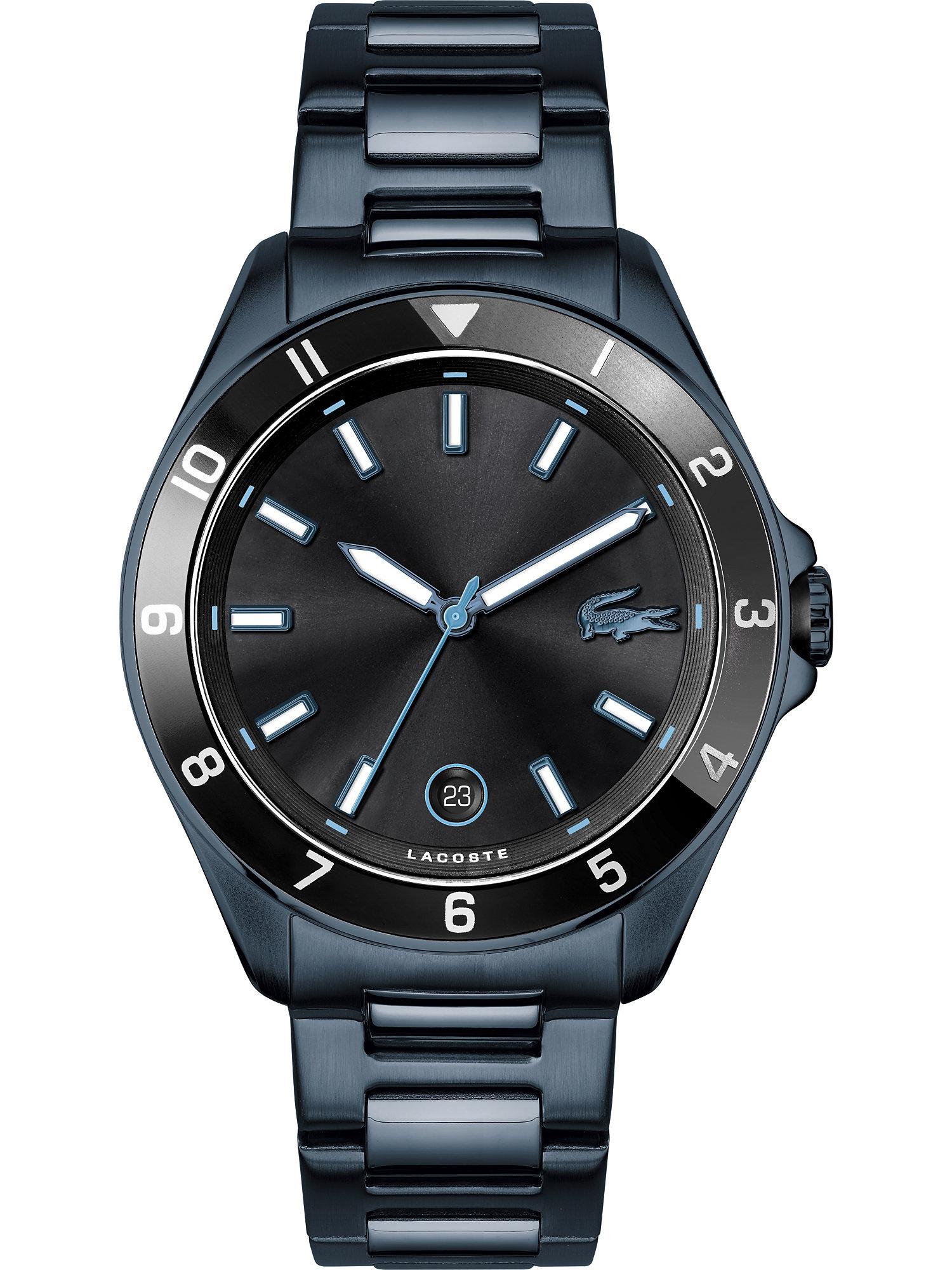 LACOSTE Analoginis (įprasto dizaino) laikrodis nakties mėlyna / juoda
