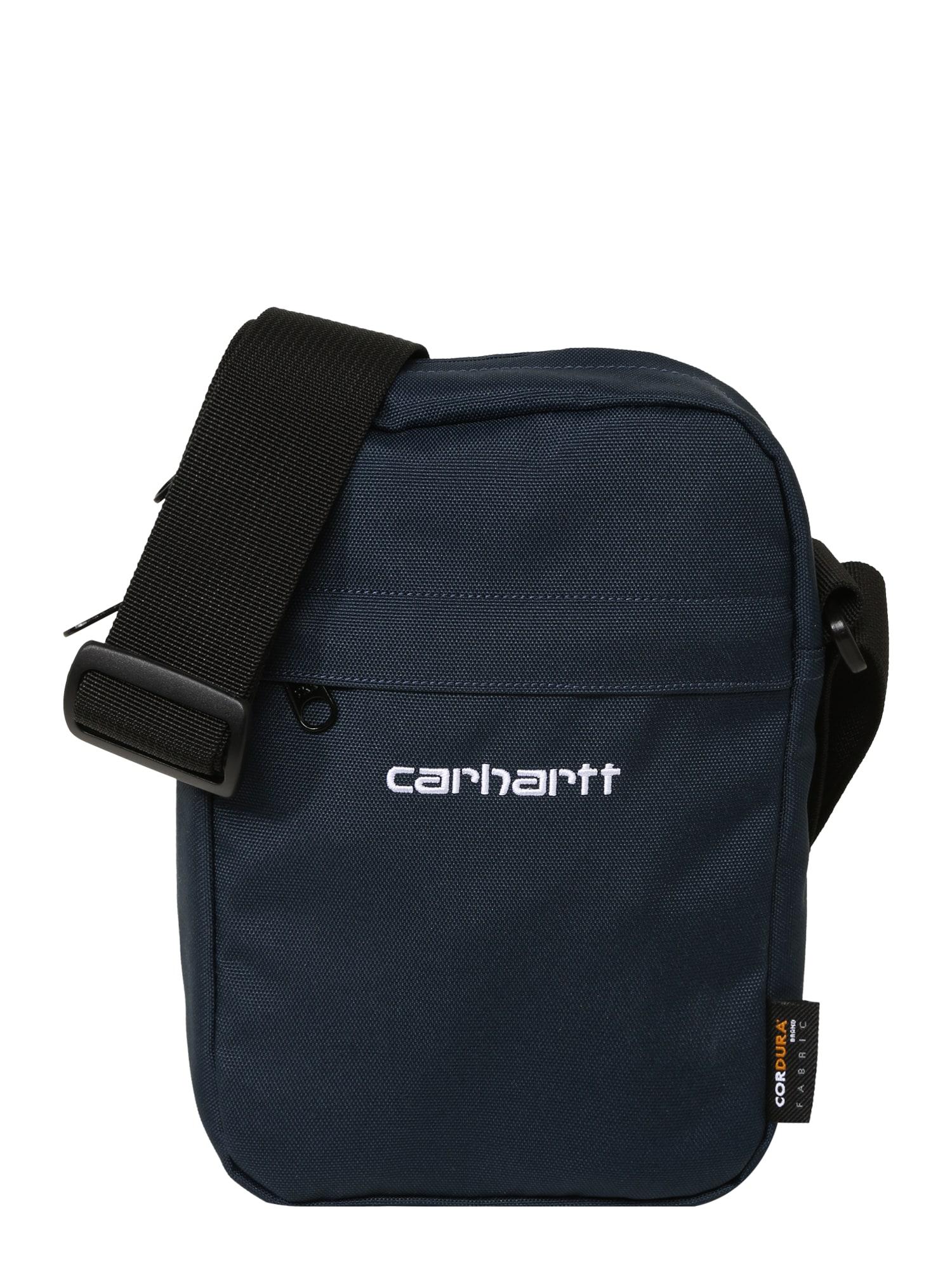 Carhartt WIP Rankinė su ilgu dirželiu 'Payton' tamsiai mėlyna / juoda / balta