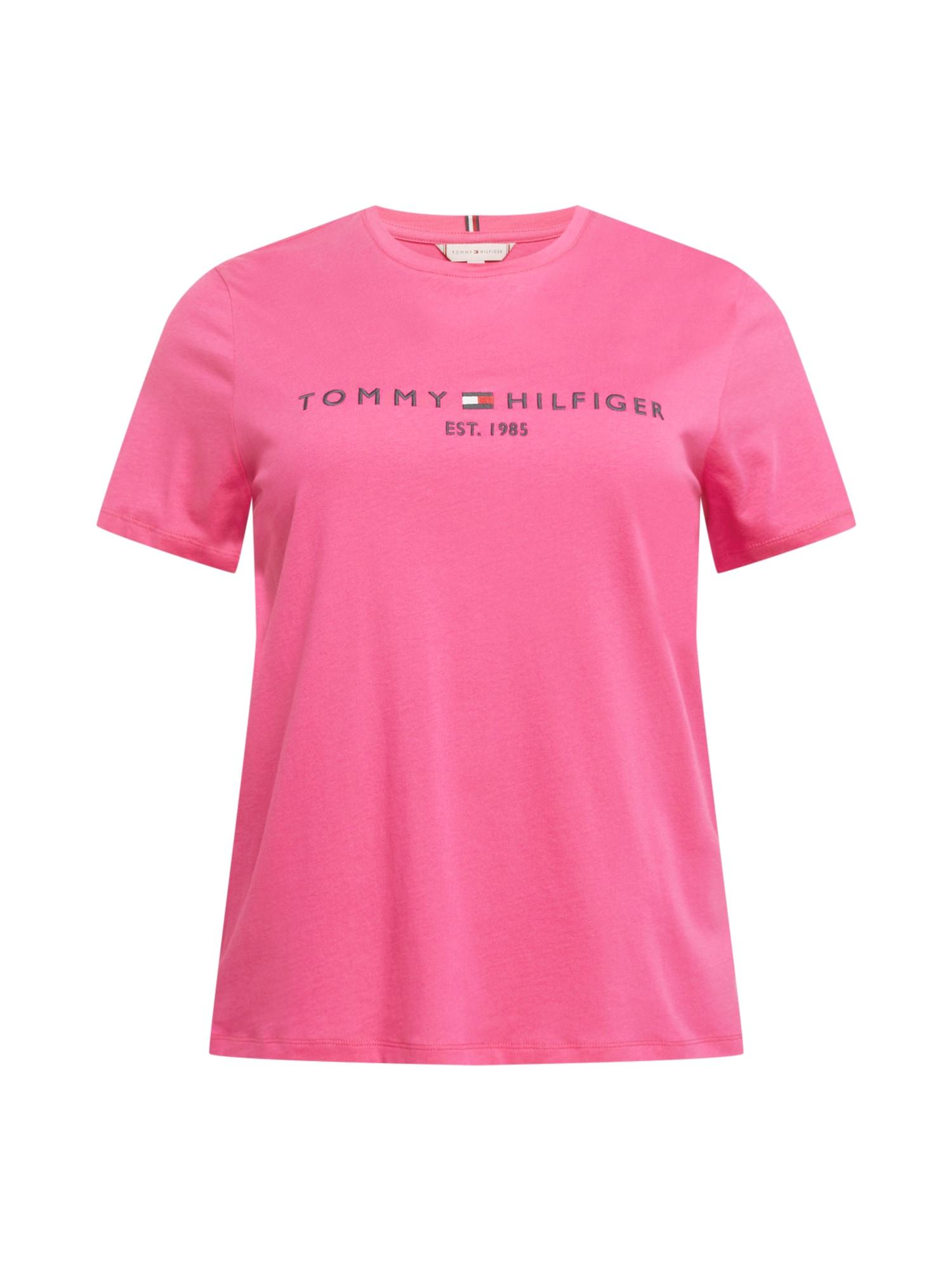 Tommy Hilfiger Curve Marškinėliai tamsiai rožinė / juoda