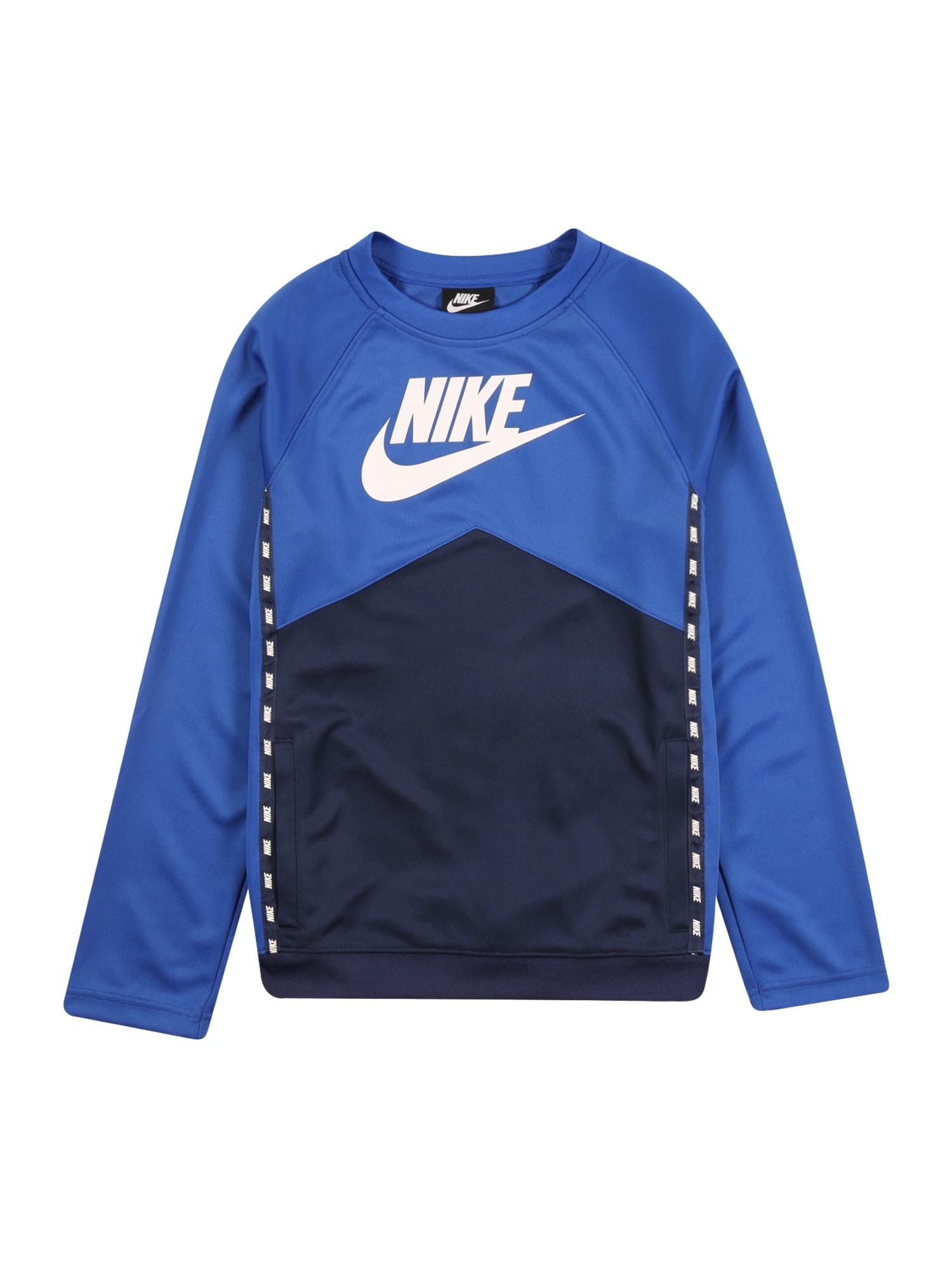 Nike Sportswear Mikina  námornícka modrá / kráľovská modrá / biela