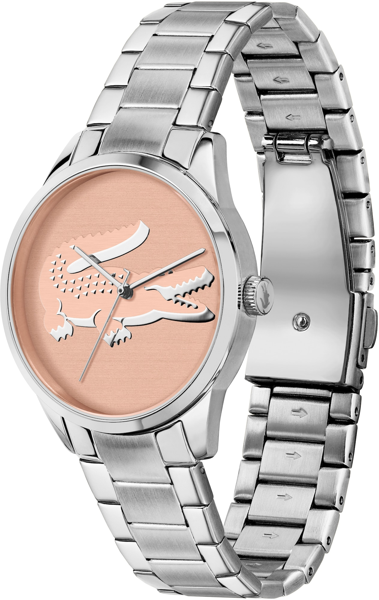 LACOSTE Analoginis (įprasto dizaino) laikrodis sidabrinė / rožinė