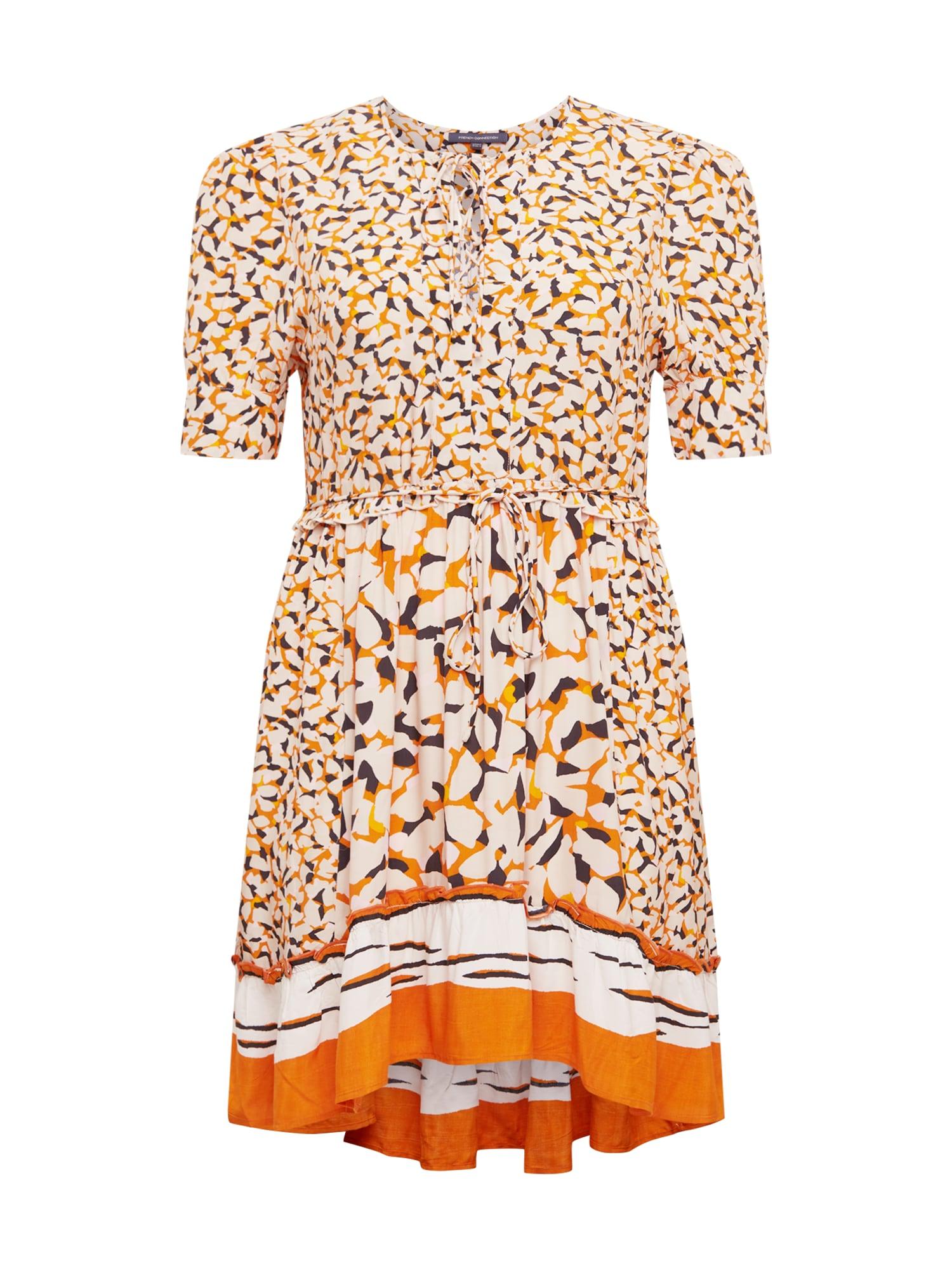 FRENCH CONNECTION Šaty 'ELLIE'  meruňková / oranžová / černá / bílá