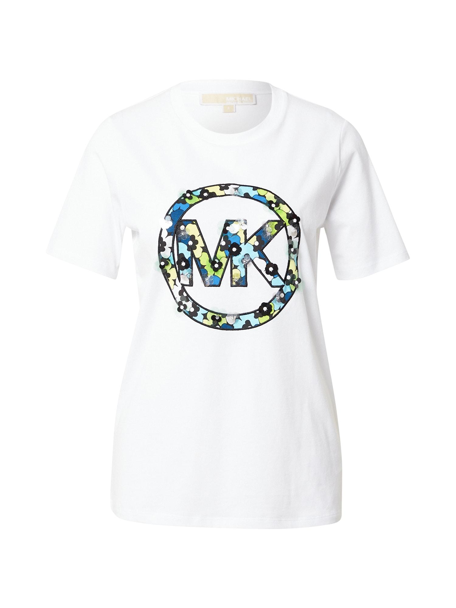 MICHAEL Michael Kors Marškinėliai balta / šviesiai mėlyna / juoda / žalia