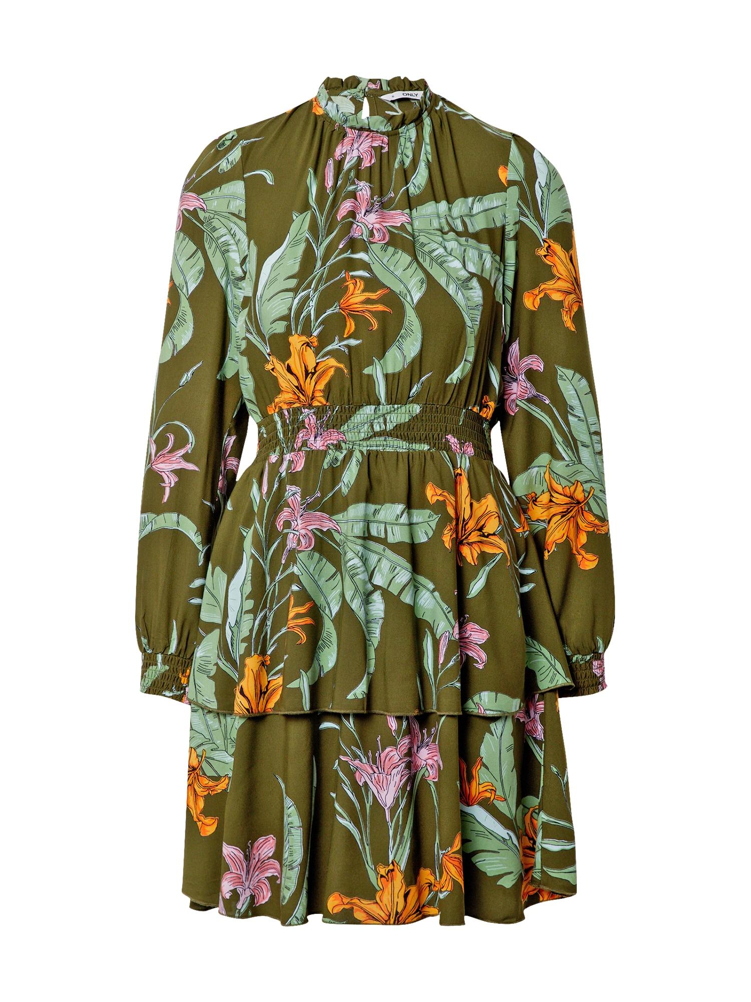 ONLY Šaty 'PALM'  olivová / pastelově zelená / oranžová / světle fialová / světle růžová