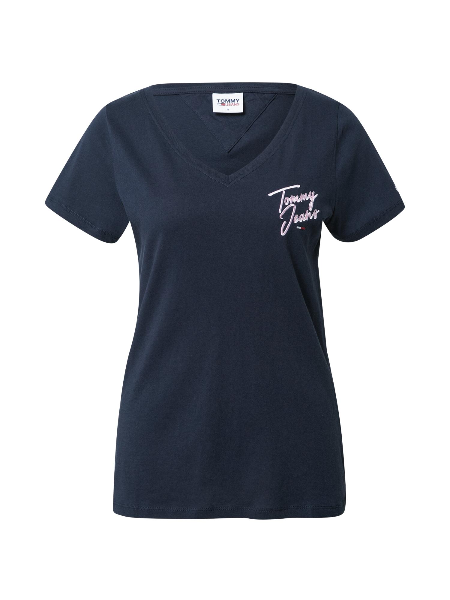 Tommy Jeans Tričko  námořnická modř / pastelově růžová
