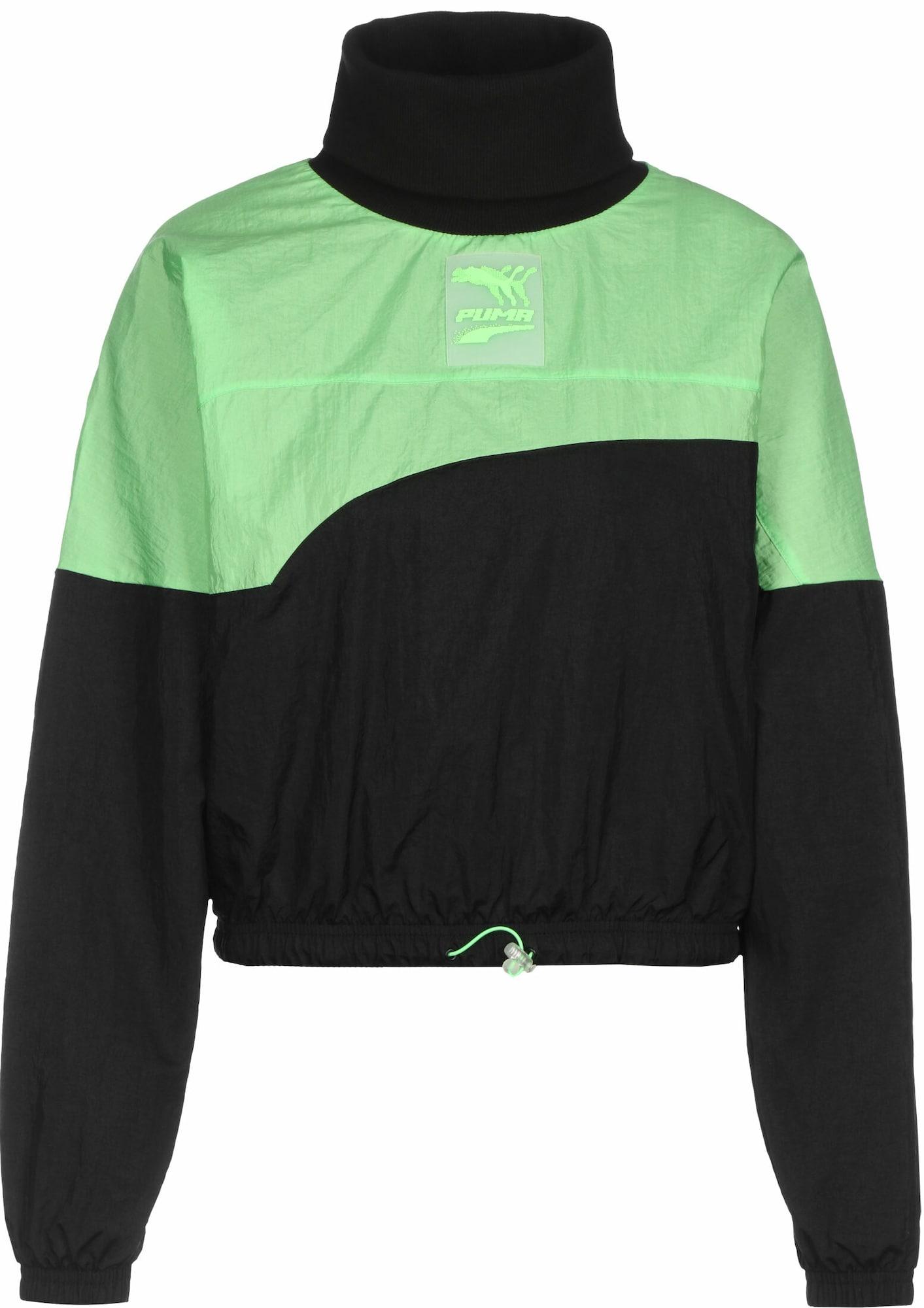 PUMA Sportinio tipo megztinis neoninė žalia / juoda