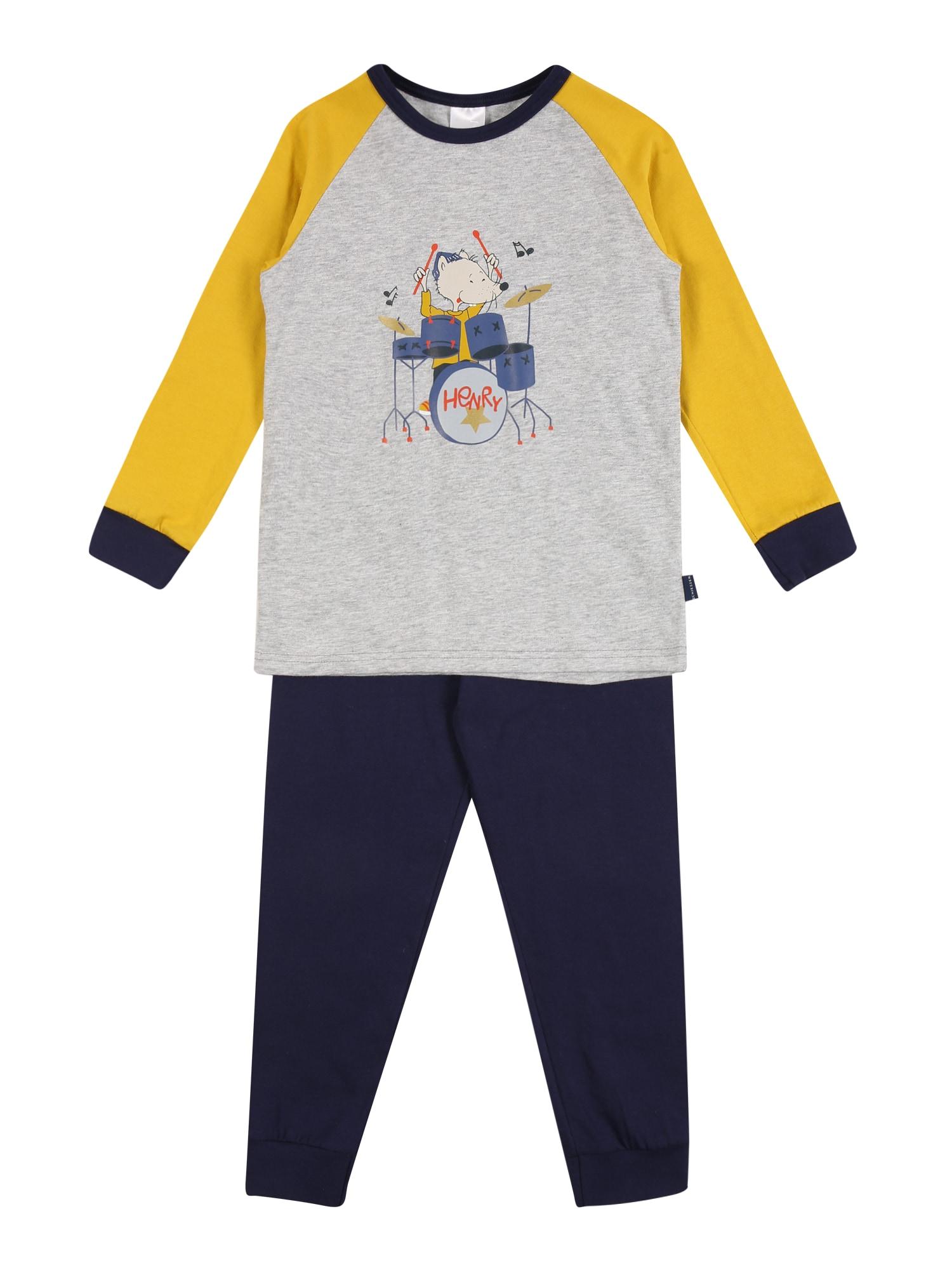 SCHIESSER Pyžamo  modrá / šedý melír / žlutá