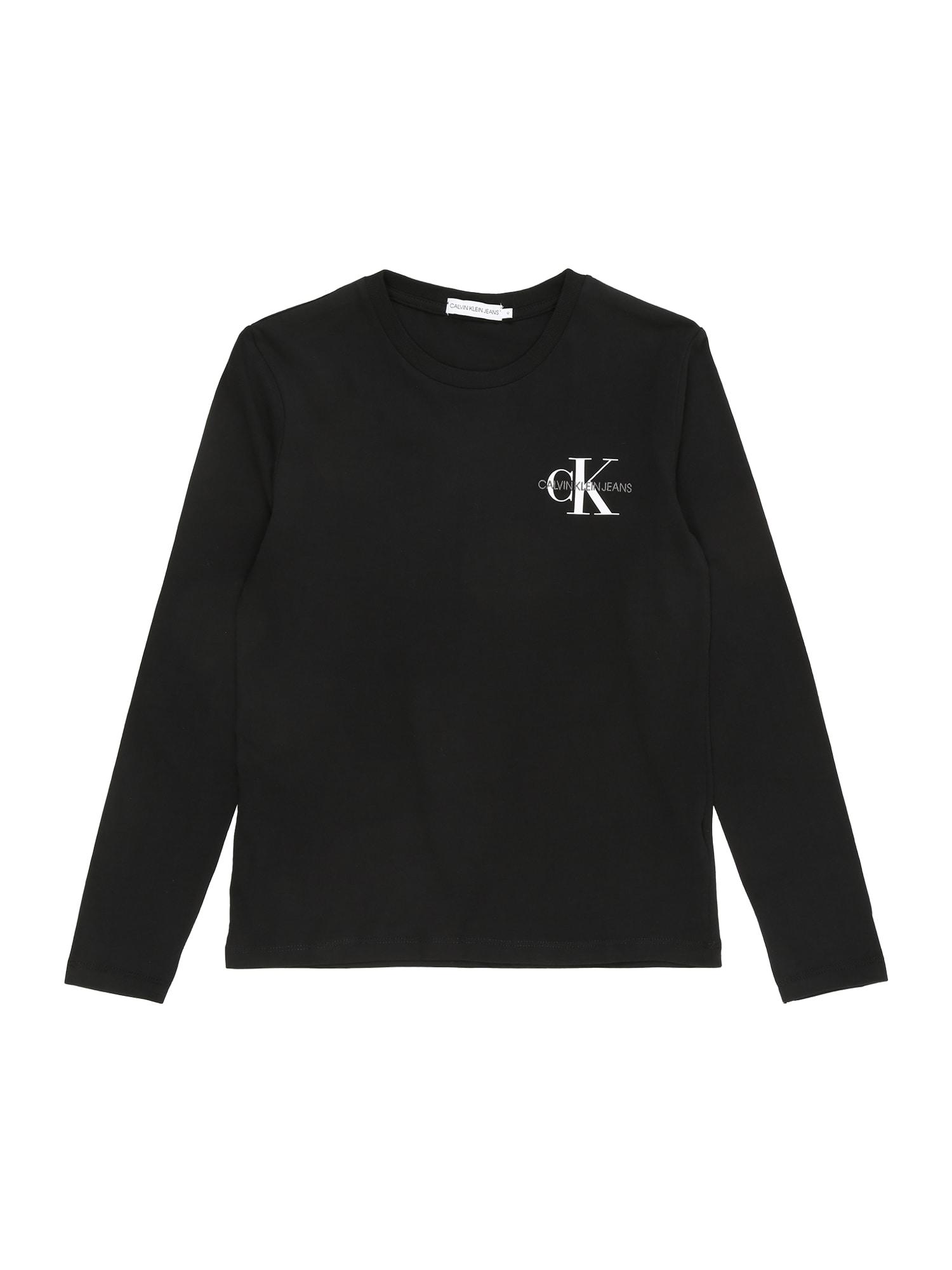 Calvin Klein Jeans Marškinėliai juoda / balta / pilka