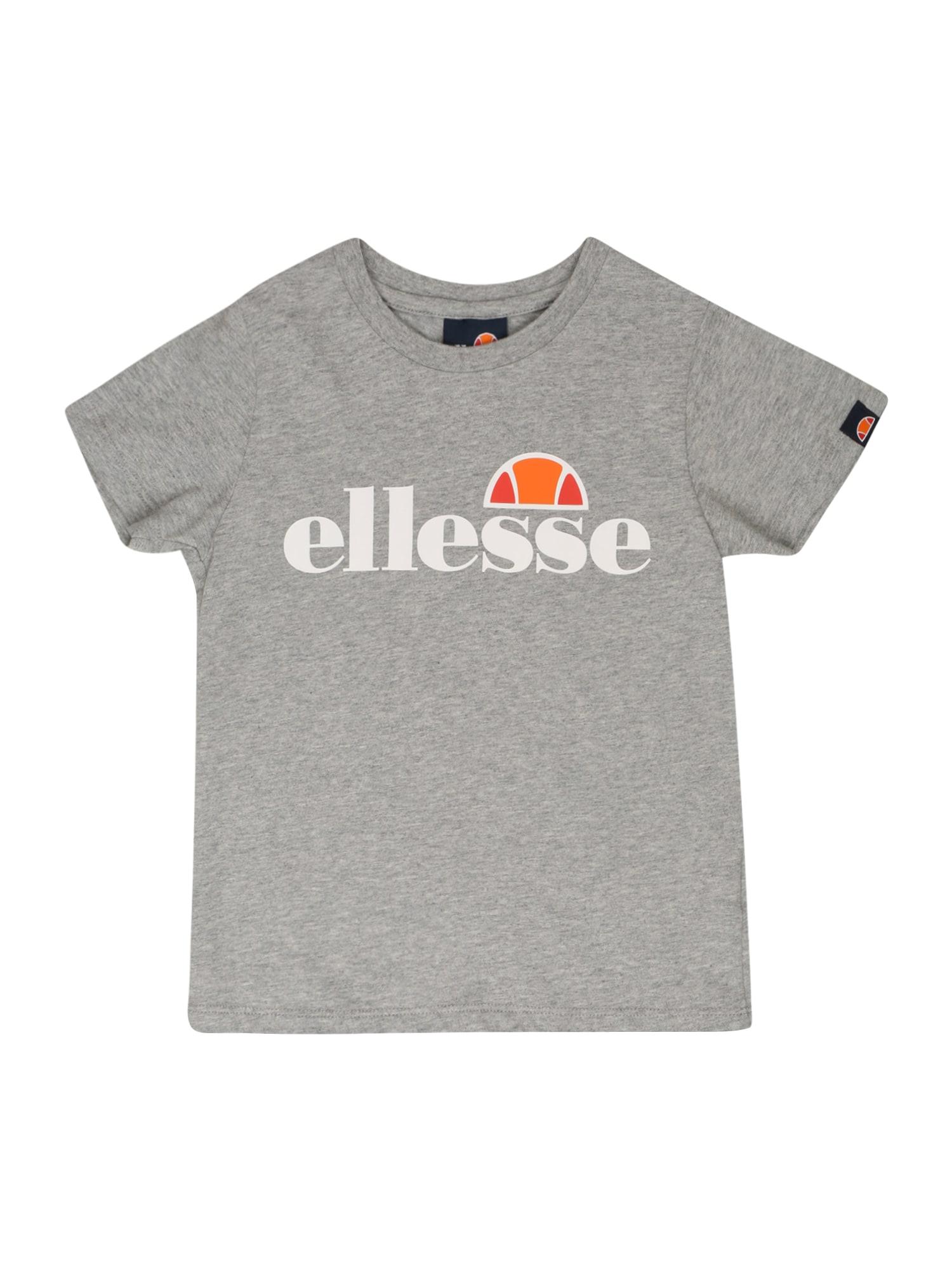 ELLESSE Marškinėliai 'Malia' margai pilka / balta / oranžinė / raudona