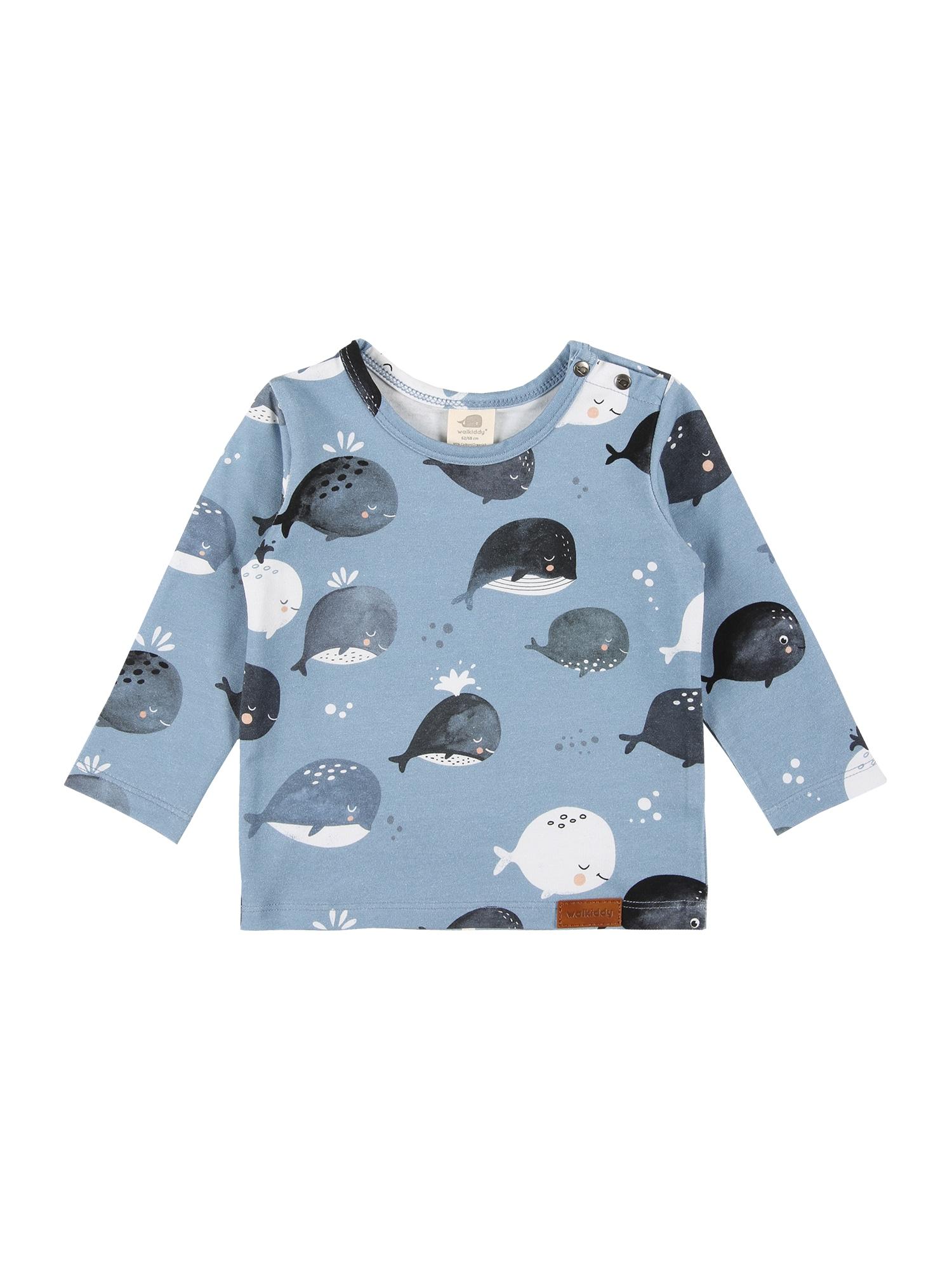 Walkiddy Marškinėliai mėlyna dūmų spalva / tamsiai mėlyna / balta / persikų spalva