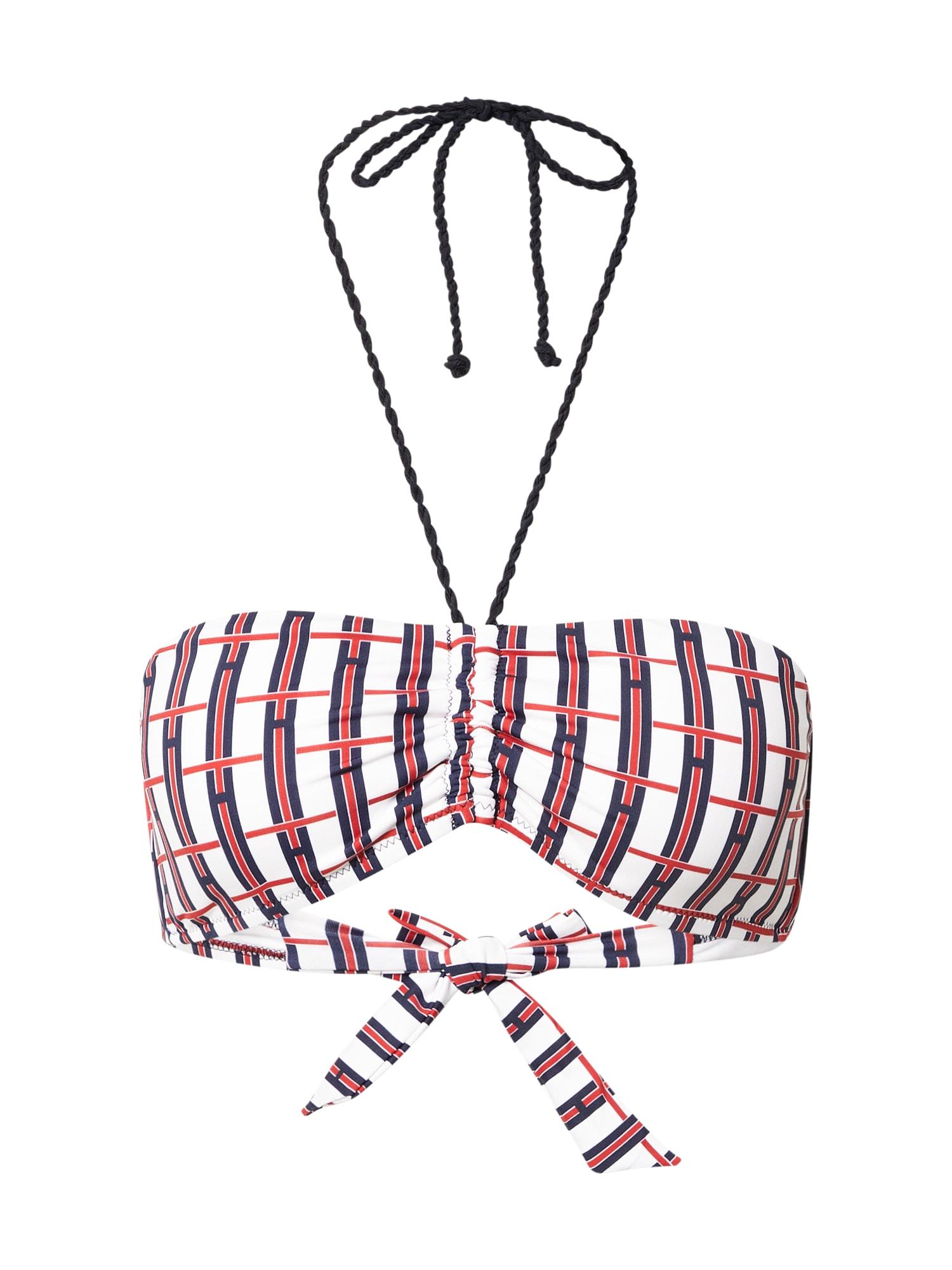 Tommy Hilfiger Underwear Bikinio viršutinė dalis balta / tamsiai mėlyna / raudona