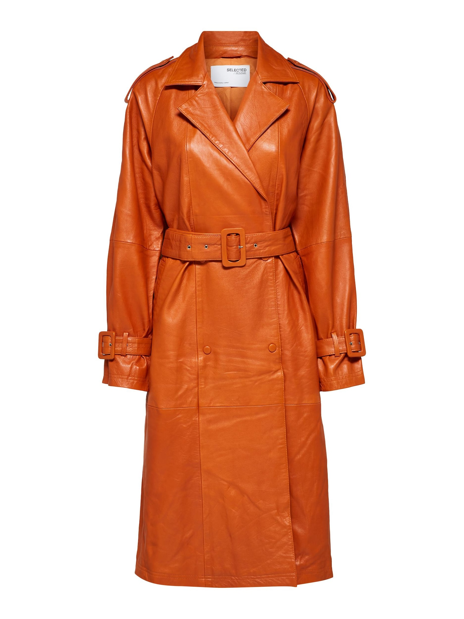 SELECTED FEMME Demisezoninis paltas tamsiai oranžinė