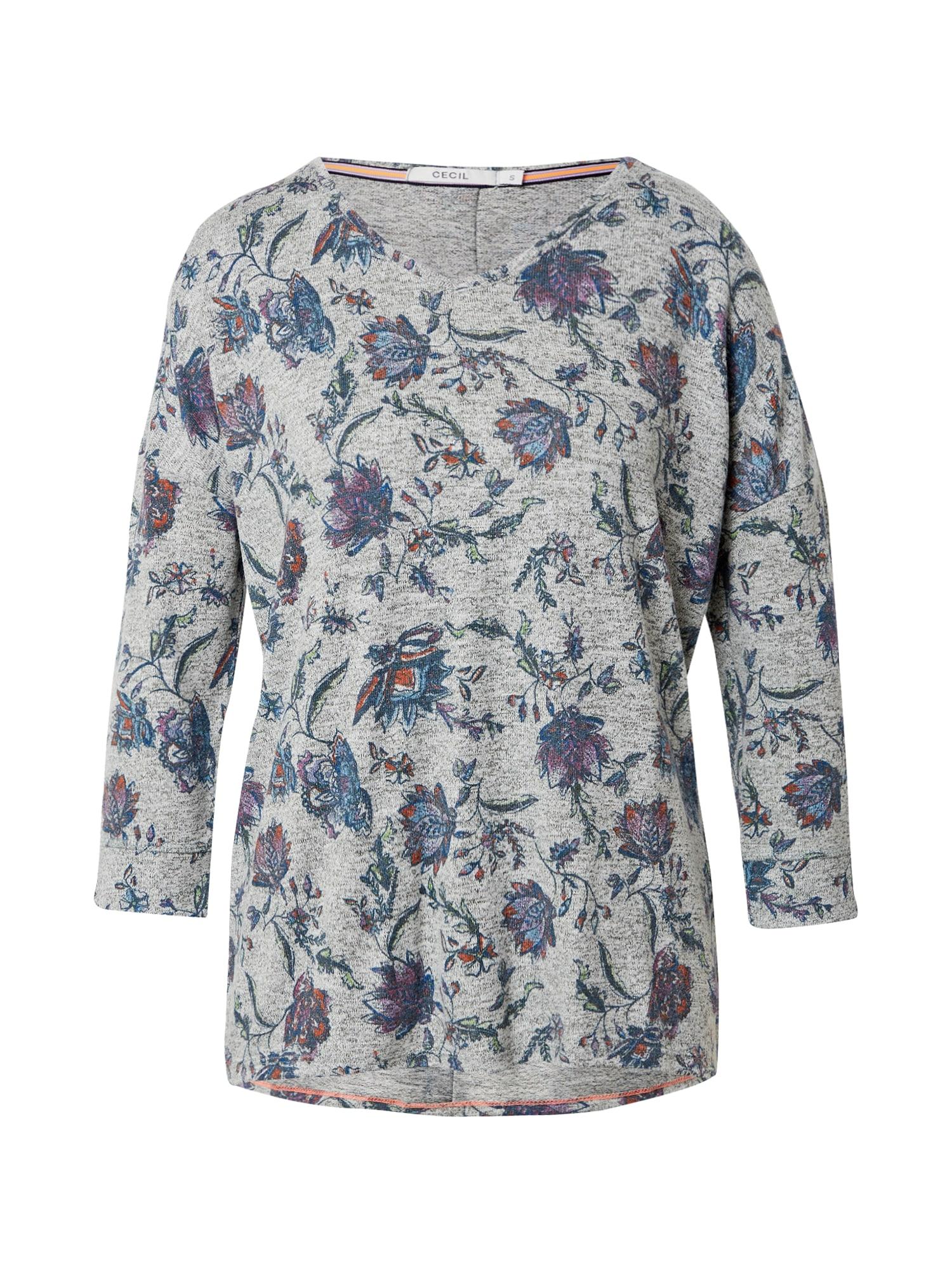 CECIL Marškinėliai alyvuogių spalva / tamsiai mėlyna / tamsiai violetinė