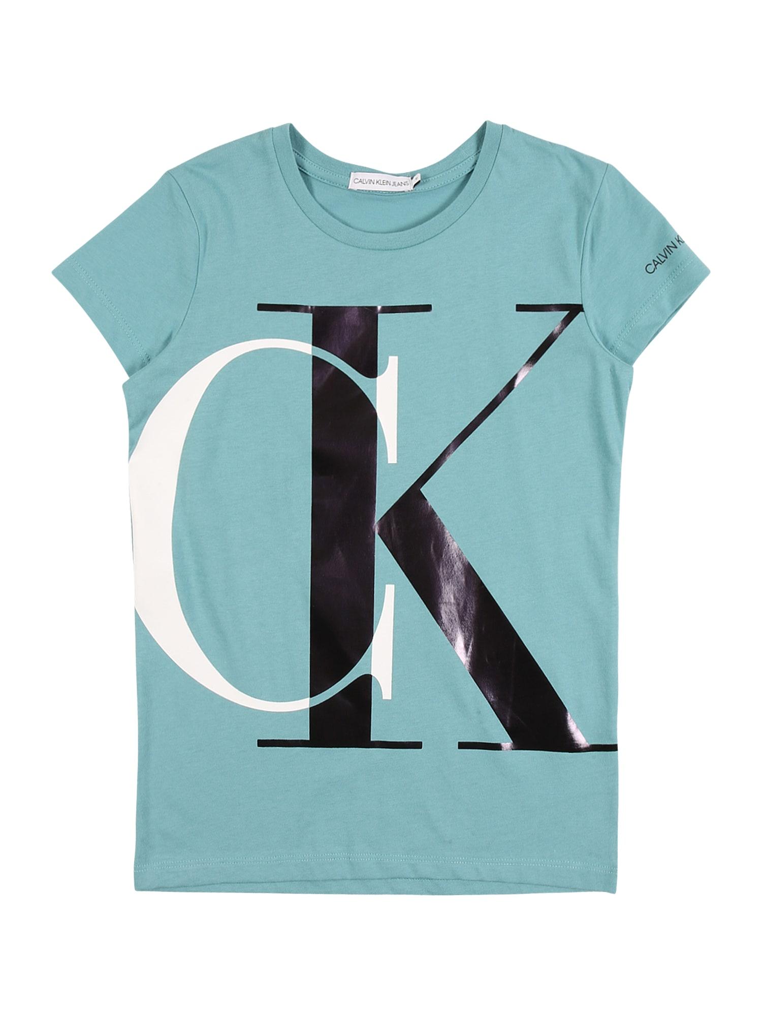 Calvin Klein Jeans Marškinėliai šviesiai mėlyna / balta / juoda