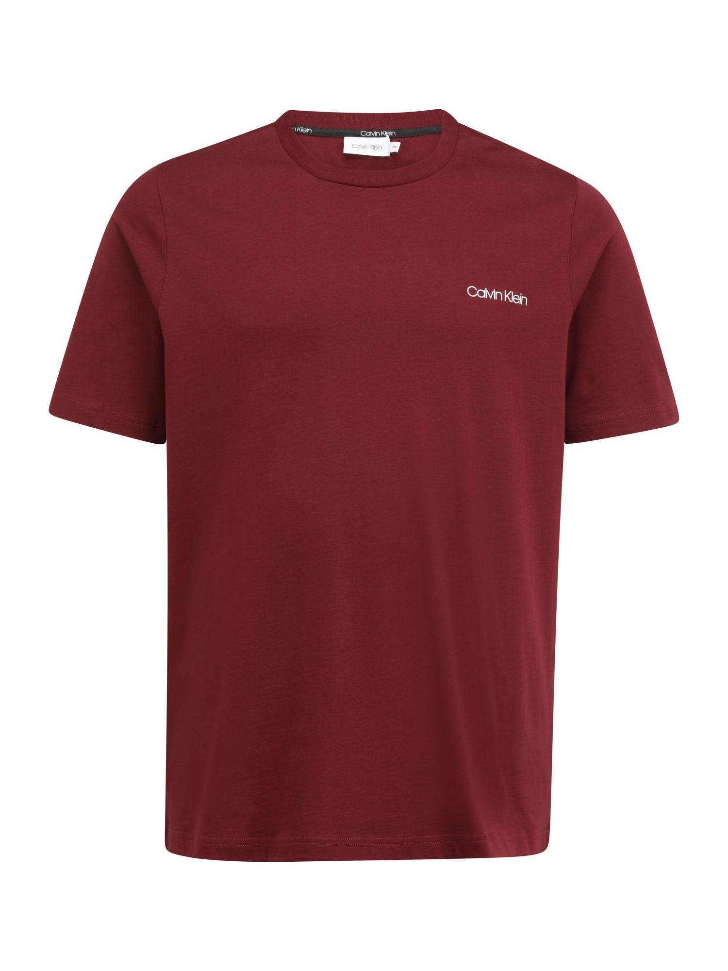 Calvin Klein Big & Tall Marškinėliai rubinų raudona / balta