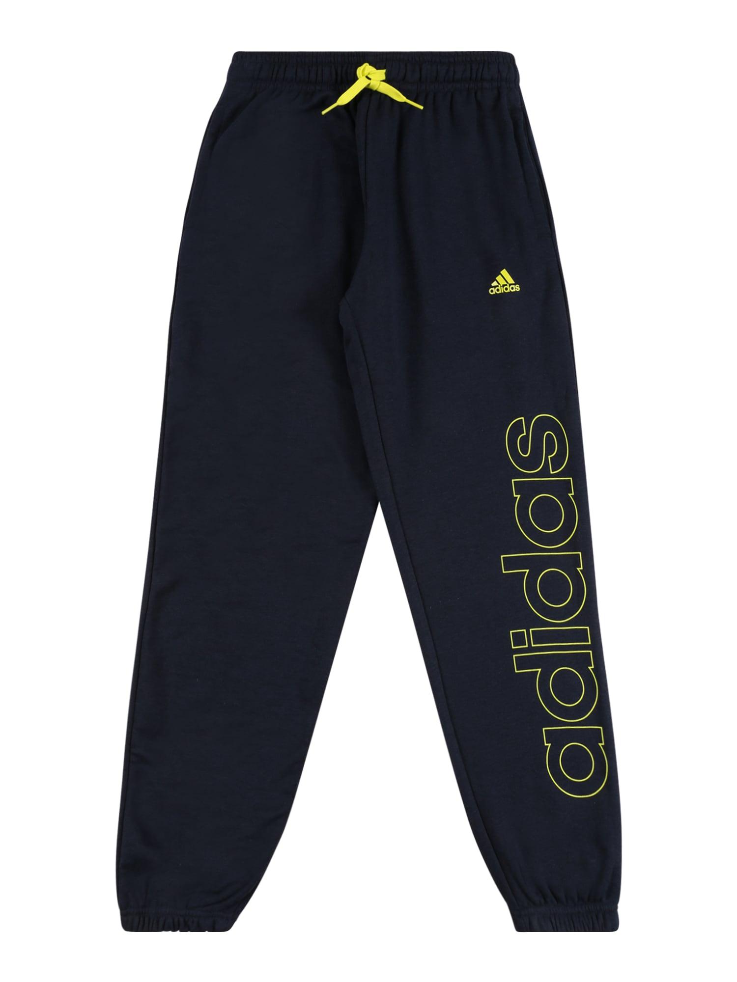 ADIDAS PERFORMANCE Sportinės kelnės juoda / neoninė geltona