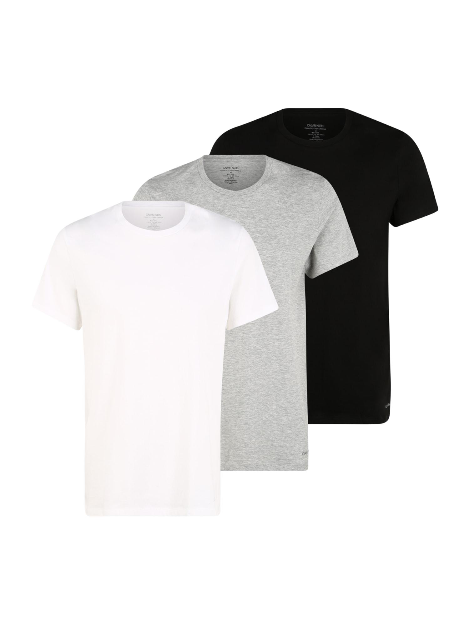 Calvin Klein Underwear Marškinėliai juoda / balta / margai pilka
