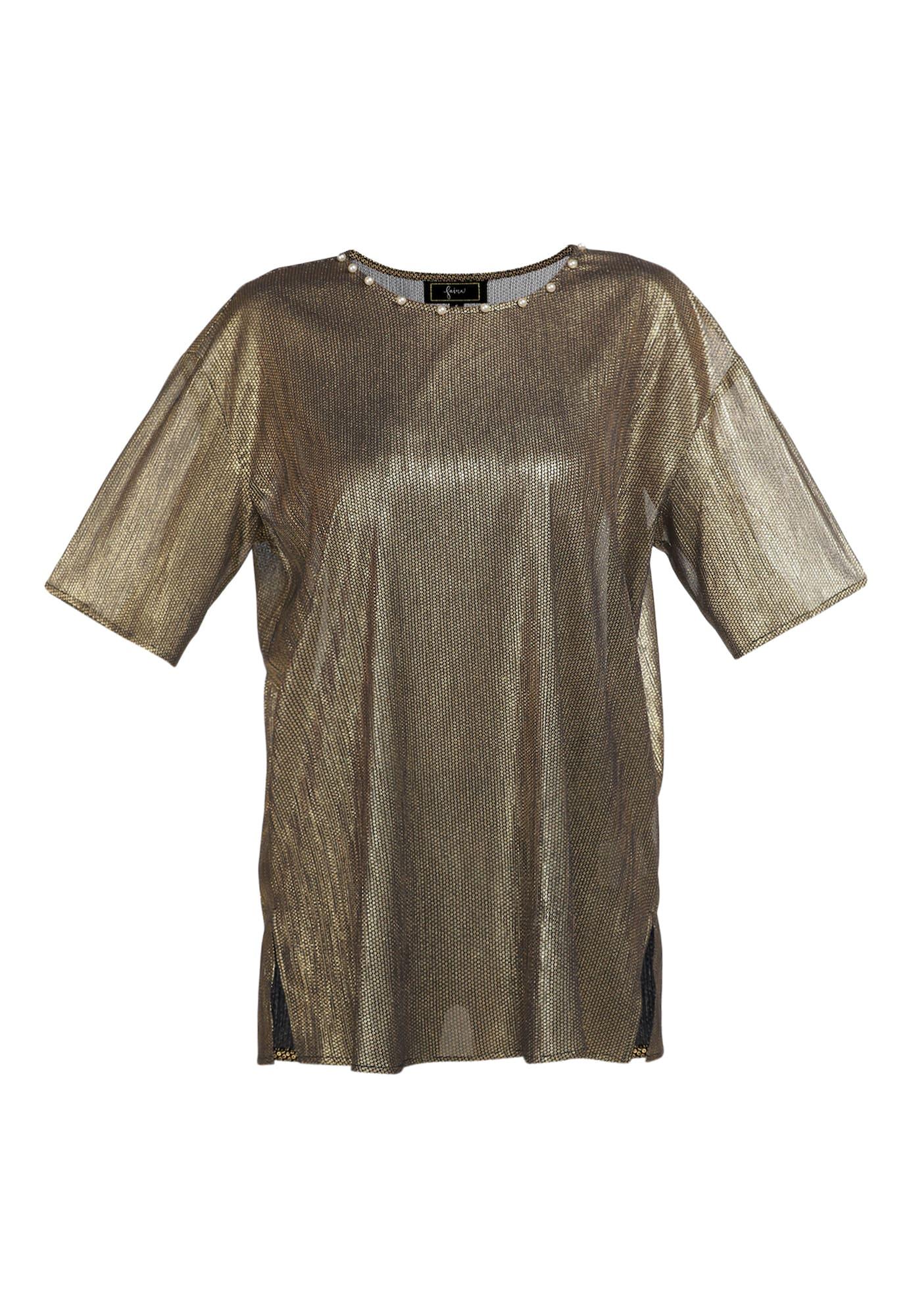 faina Marškinėliai juoda / auksas