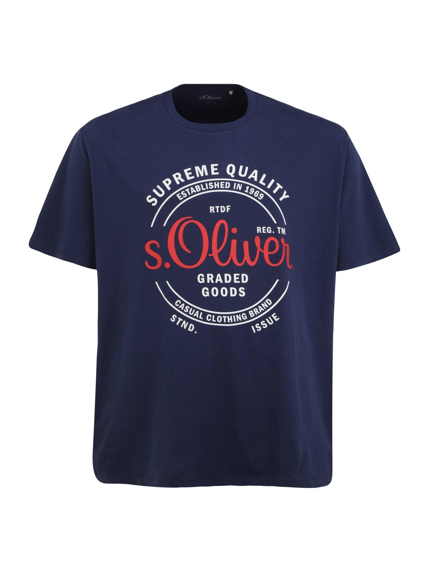 s.Oliver Red Label Big & Tall Marškinėliai tamsiai mėlyna / oranžinė / balta
