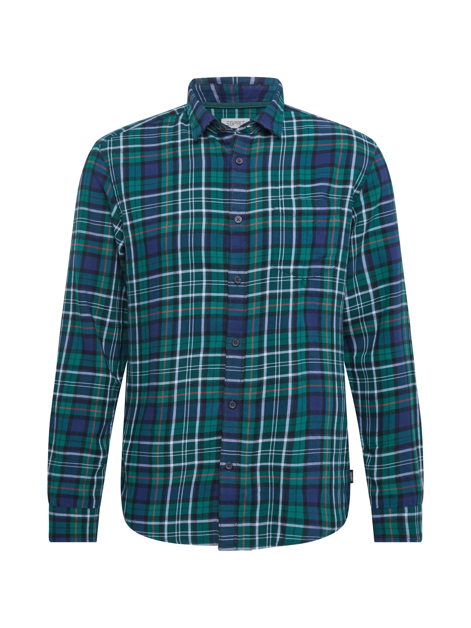 ESPRIT Marškiniai smaragdinė spalva / tamsiai mėlyna / balta / raudona