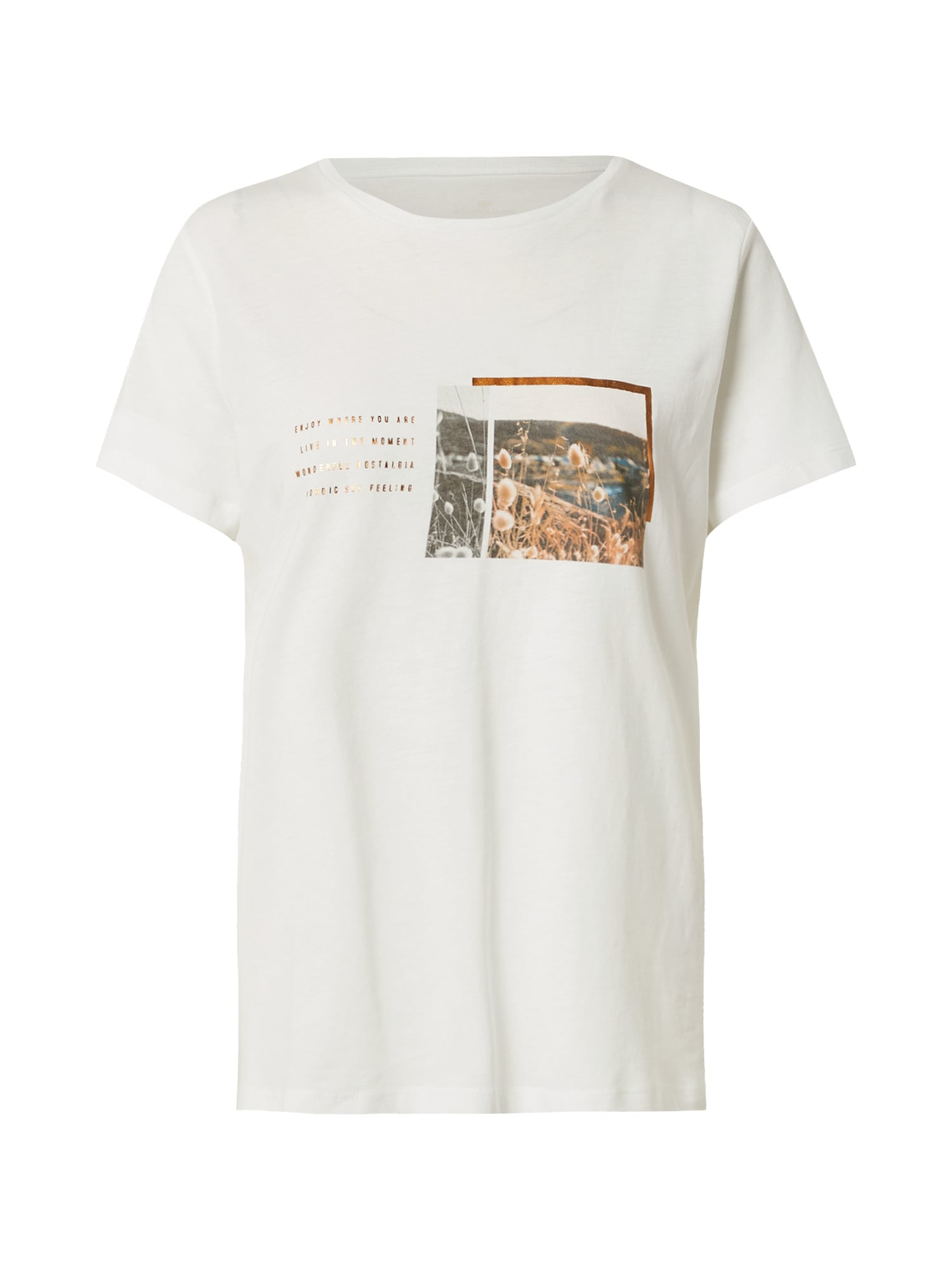 TOM TAILOR Tričko  bílá / zlatá / mix barev