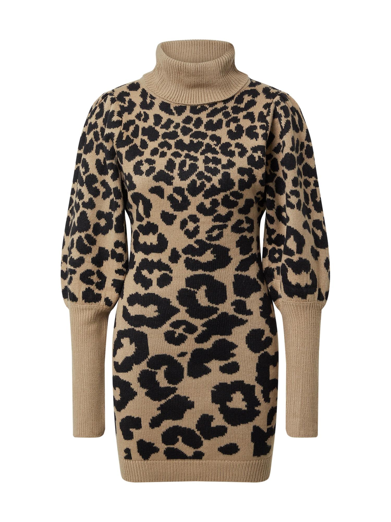 AX Paris Suknelė juoda / gelsvai pilka spalva