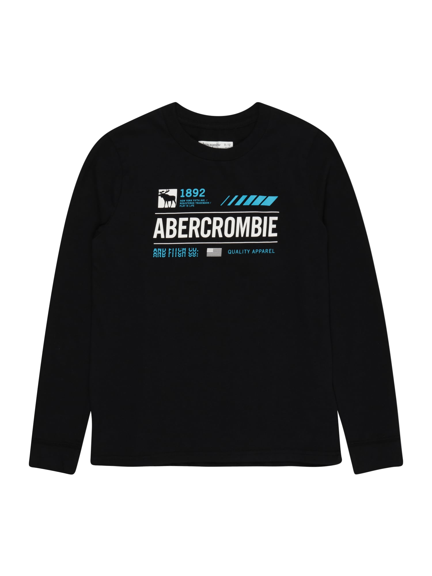 Abercrombie & Fitch Marškinėliai juoda / balta / turkio spalva