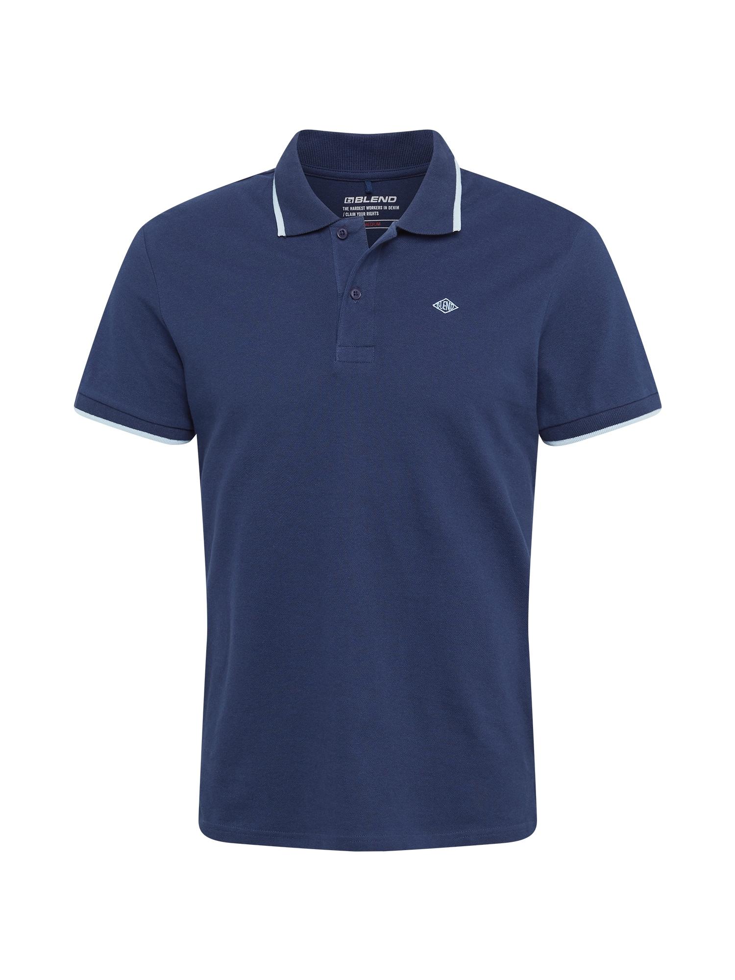 BLEND Marškinėliai tamsiai mėlyna jūros spalva / balta