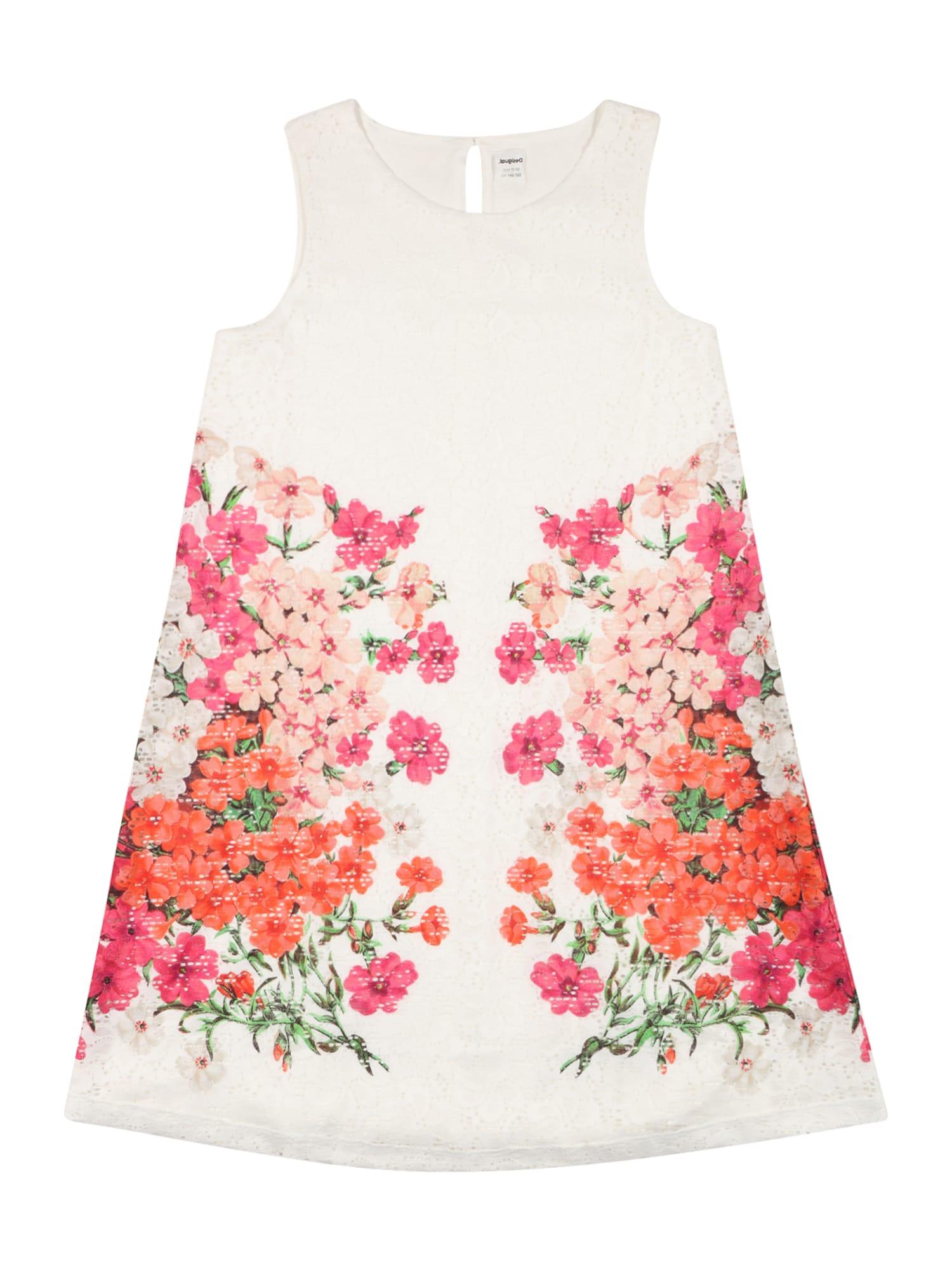 Desigual Suknelė 'MARIONA' balta / oranžinė-raudona / šviesiai rožinė / rožinė / žalia