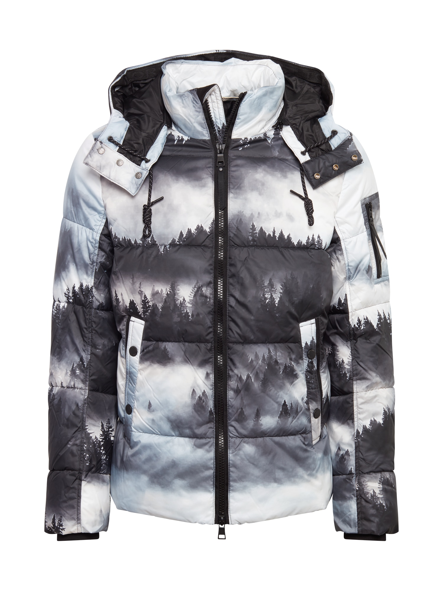 TOM TAILOR Zimní bunda  černá / bílá / šedá