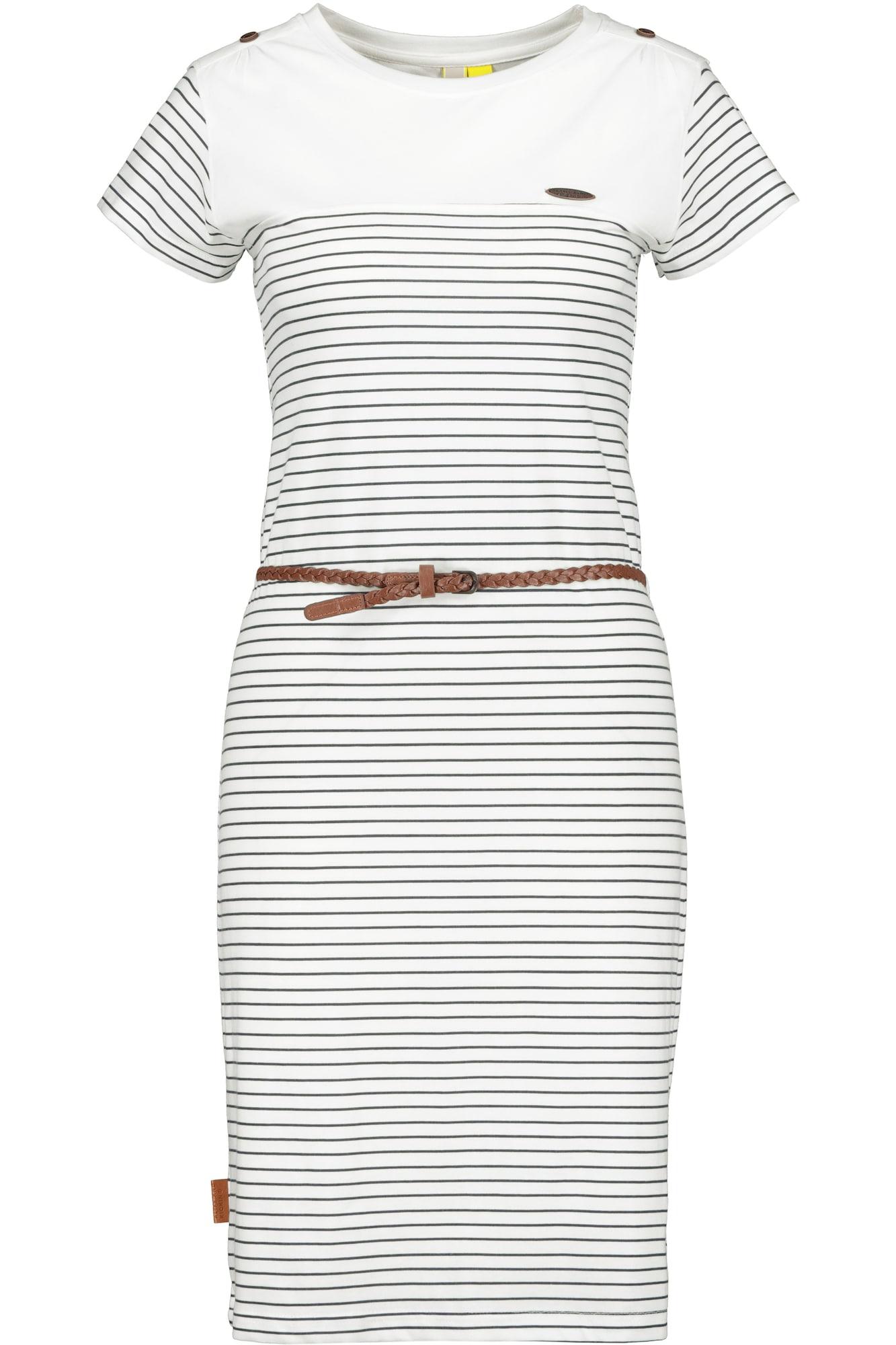 Alife and Kickin Letní šaty 'Leonie'  bílá / námořnická modř / hnědá