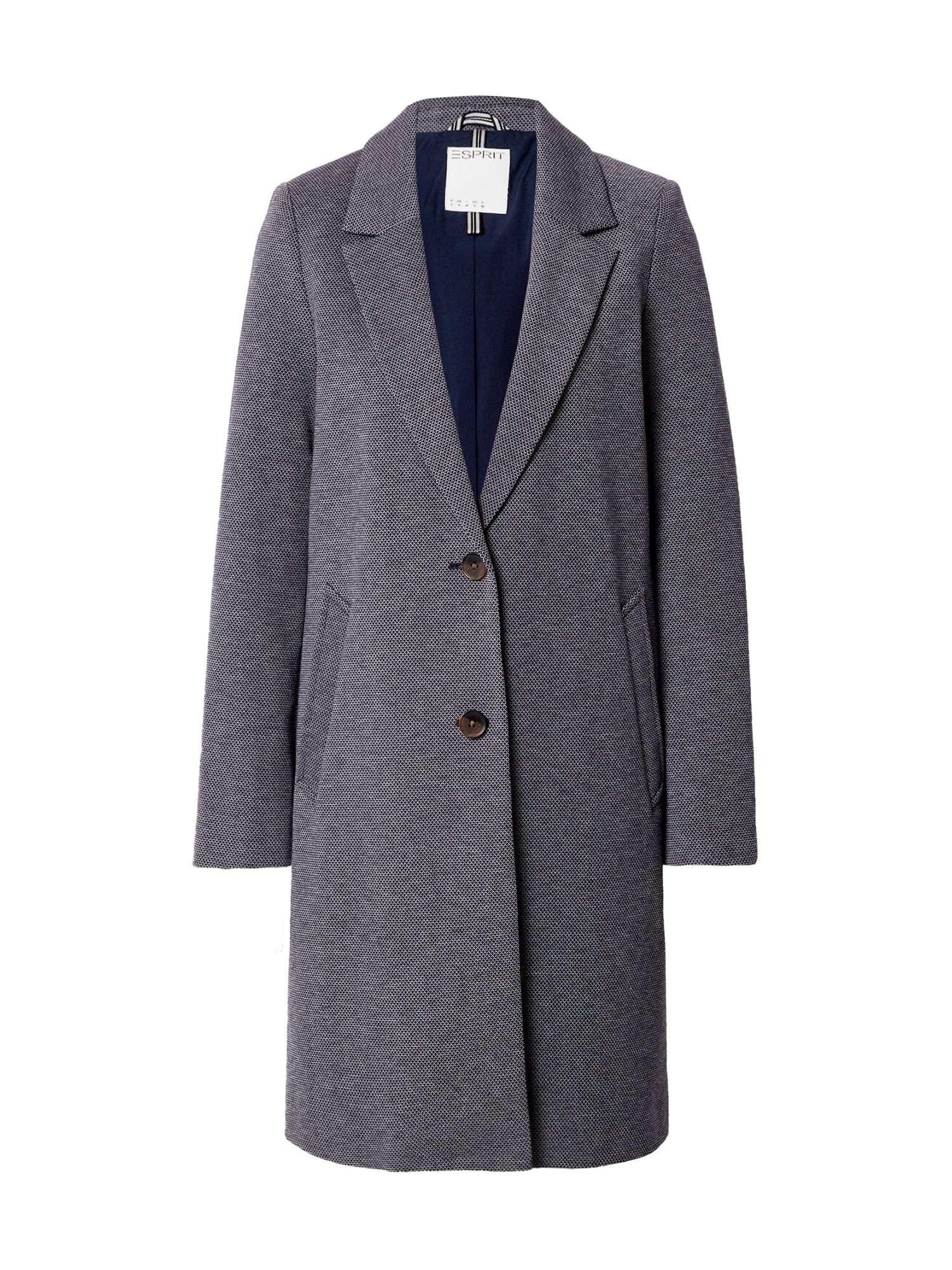 ESPRIT Demisezoninis paltas tamsiai mėlyna / balta